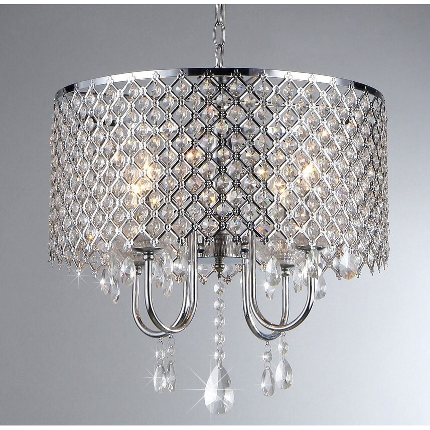 Warehouse Of Tiffany 4 Light Crystal Chandelier & Reviews