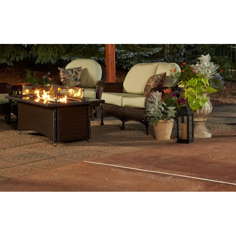 Montego Crystal Fire Pit Coffee Table with Wicker Base | Wayfair