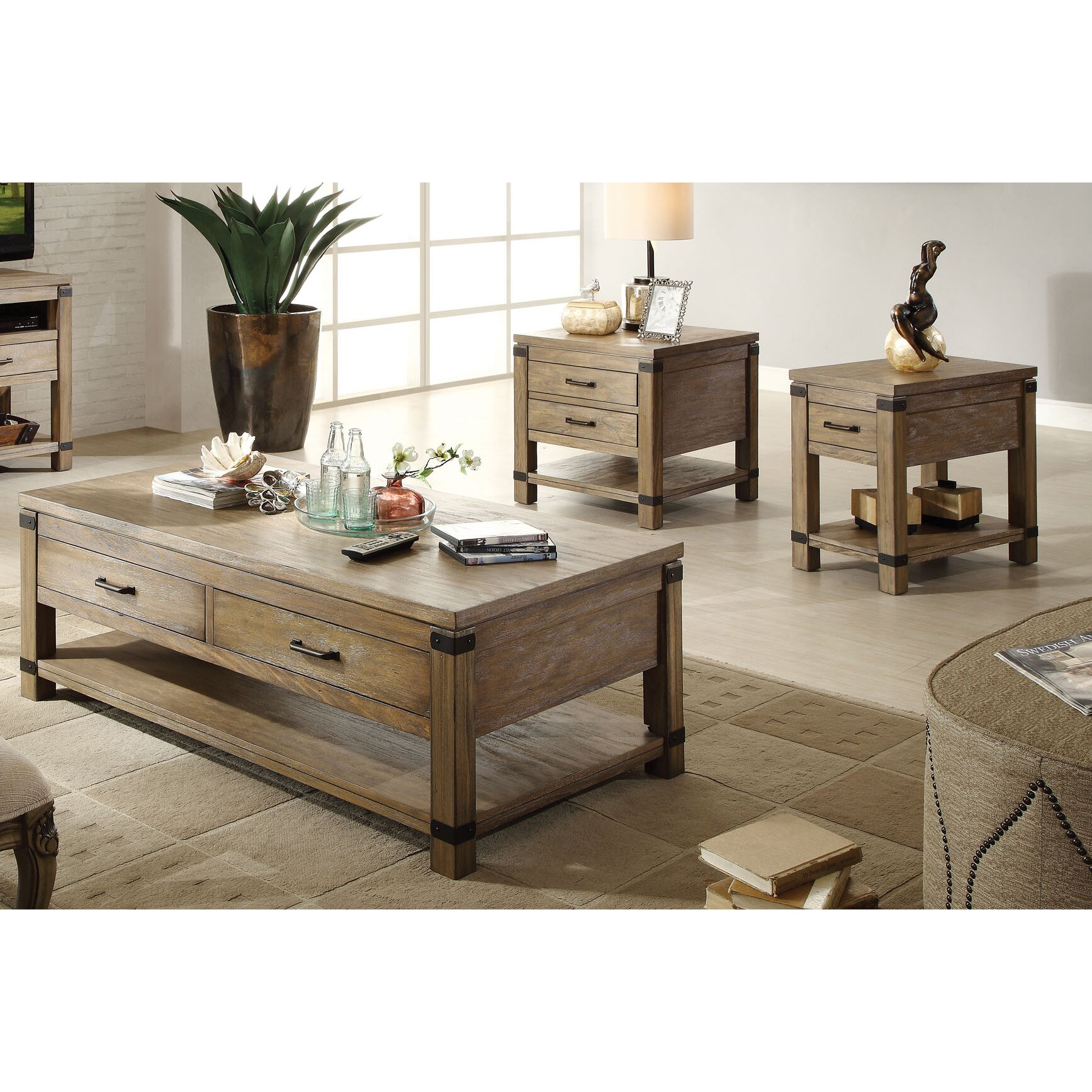 Jordan S Furniture Coffee Table Sets: Riverside Furniture Bay Cliff Coffee Table Set & Reviews