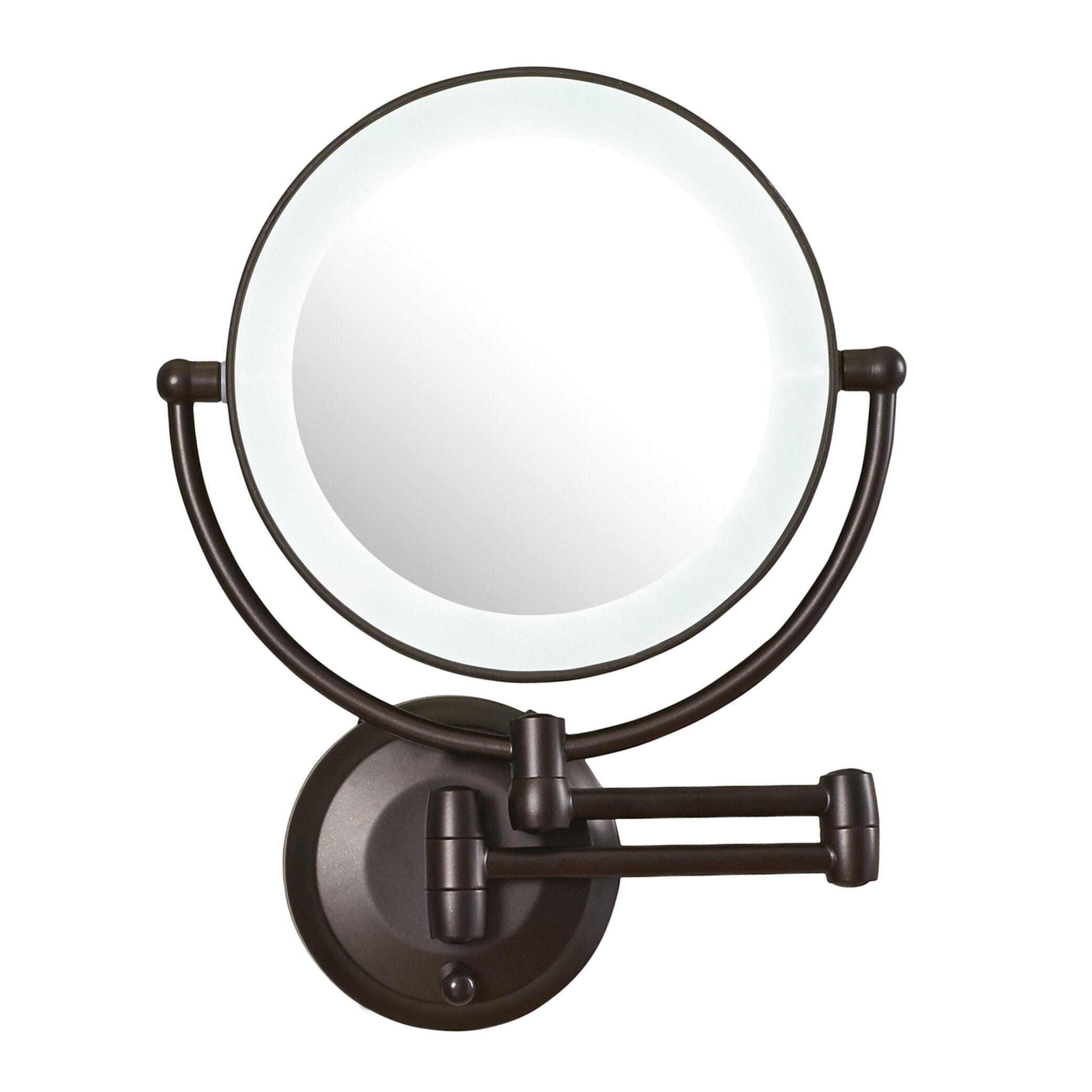 LED Lighted 1X/10X Magnification Wall Mount Mirror : Wayfair