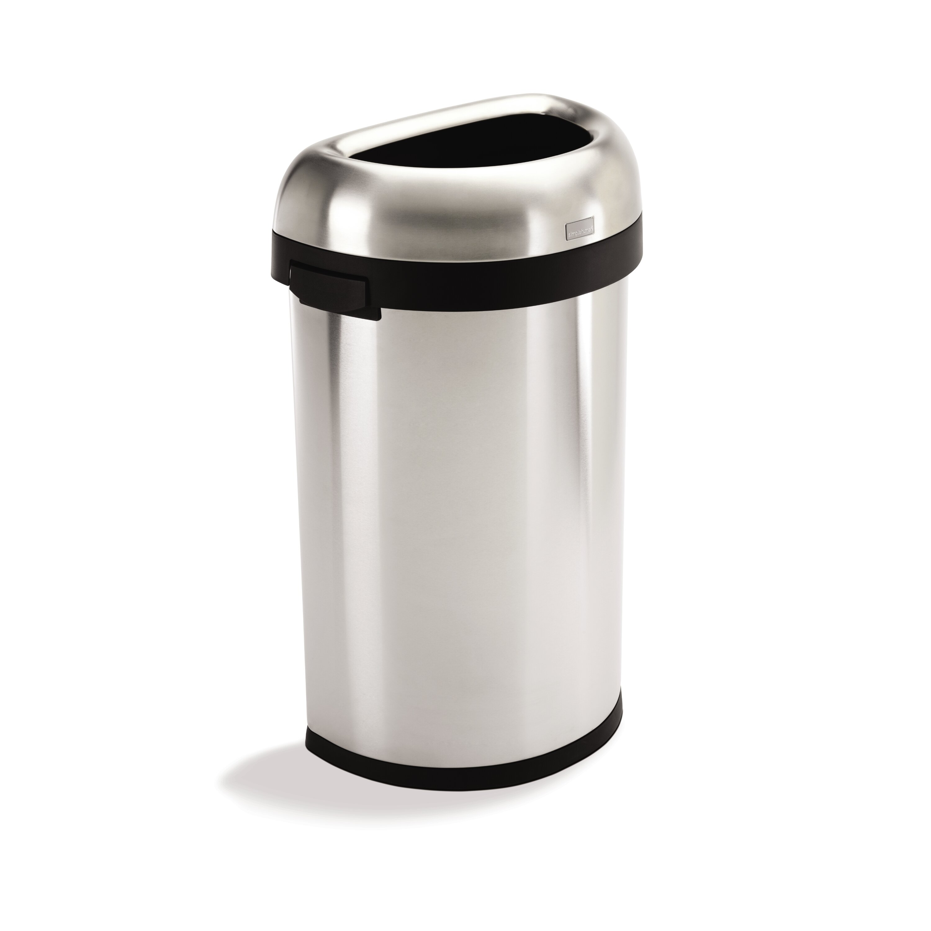 simplehuman 60 l 16 gal semi round open trash can commercial grade stainless steel. Black Bedroom Furniture Sets. Home Design Ideas
