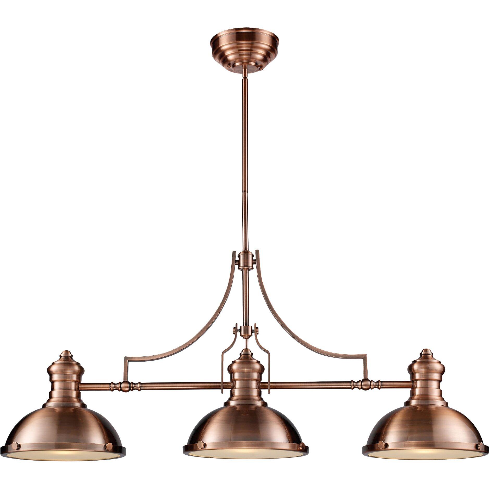 Elk Lighting Chadwick 3 Light Pool Table Light & Reviews