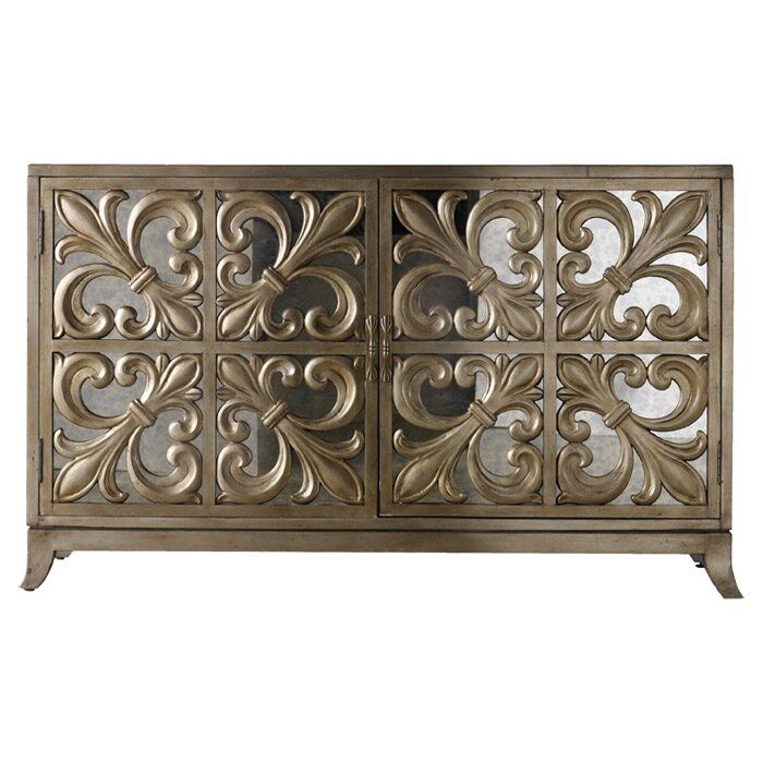 Hooker Furniture Bathroom Vanity: Melange Fleur-de-lis Mirrored Credenza