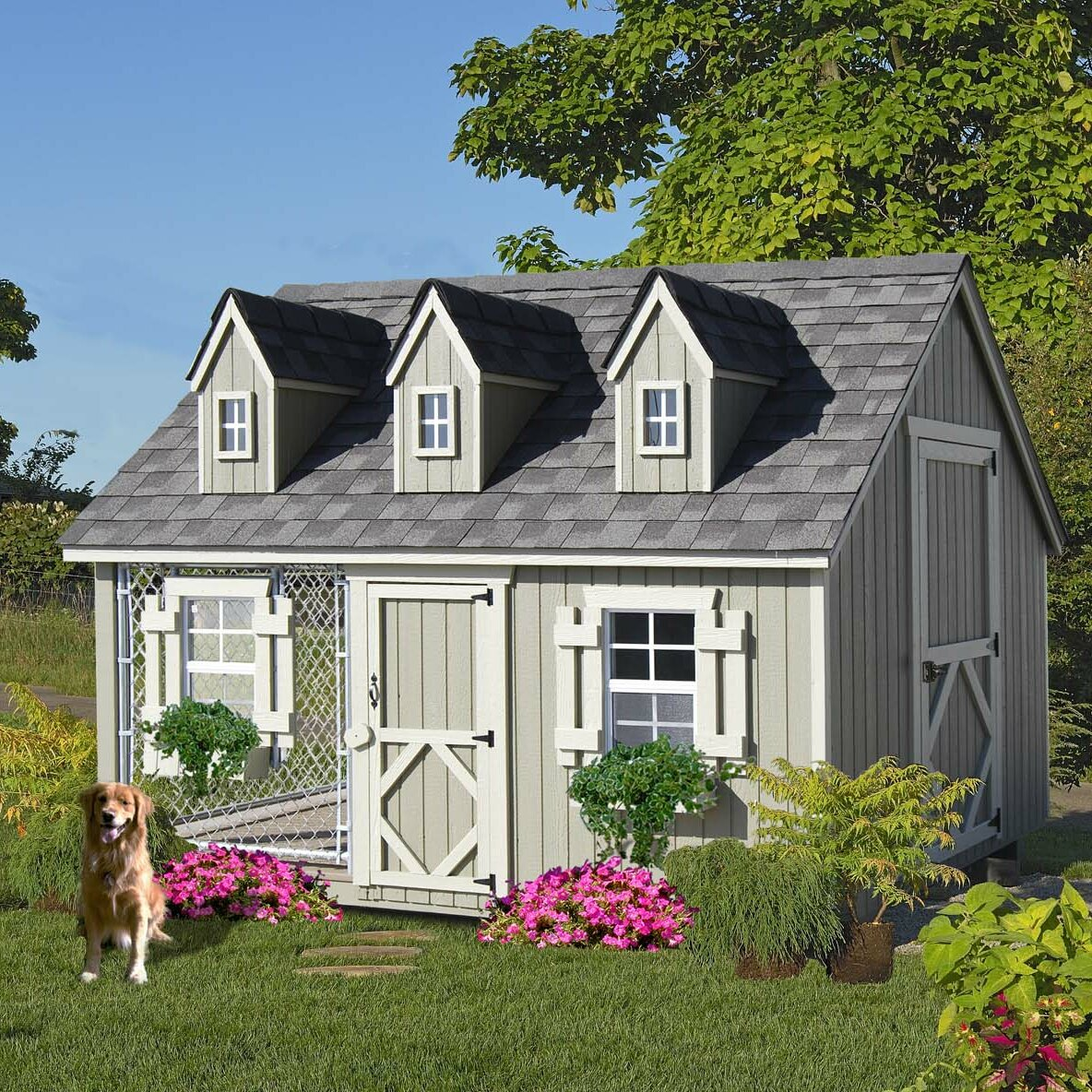 Cape cod cozy cottage kennel dog house wayfair for Cottage home company