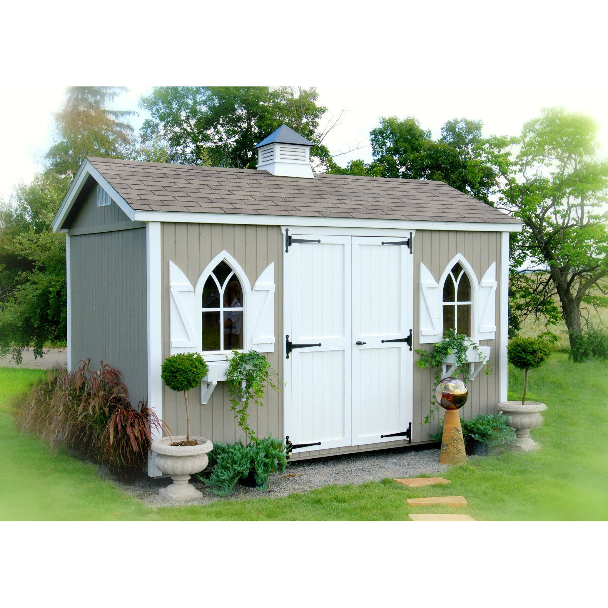 Classic 14 ft w x 10 ft d wood garden shed wayfair for Cottage sheds