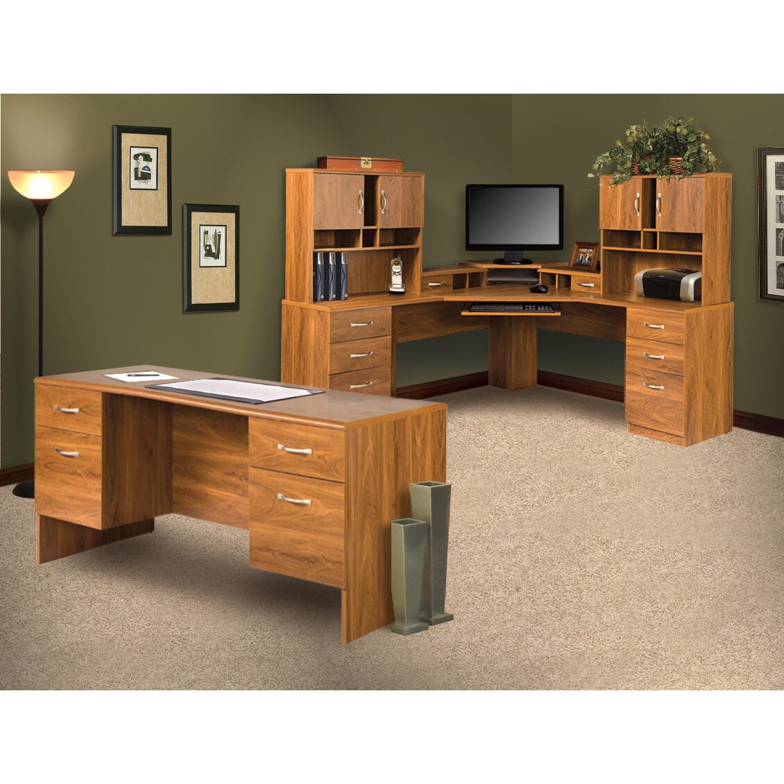 Office Adaptations L-Shape Computer Desk With Hutches