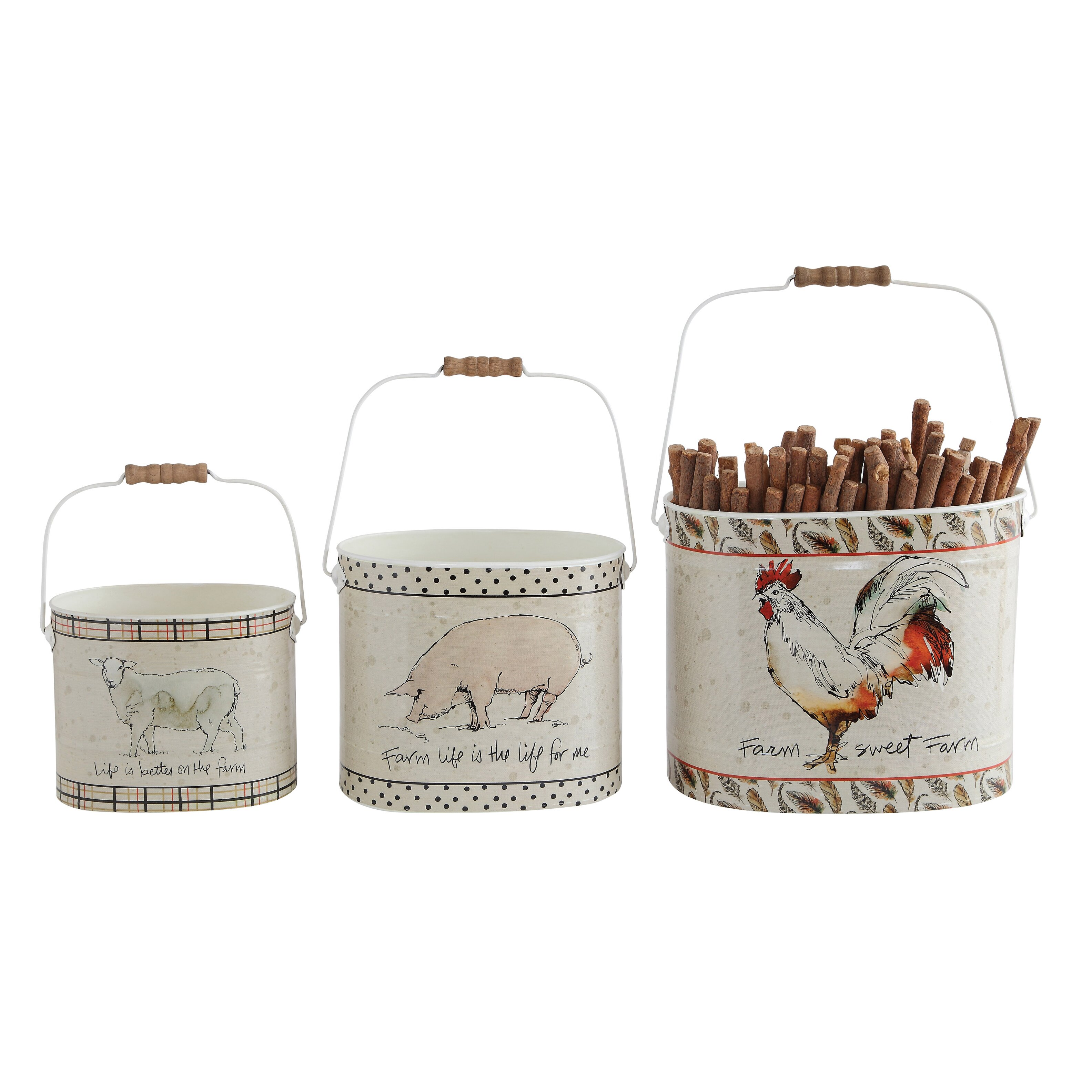 Farm 3 Piece Tin Bucket With Farm Animals And Sayings Set