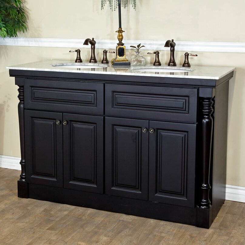 55 double bathroom vanity set wayfair for 55 inch double sink bathroom vanity