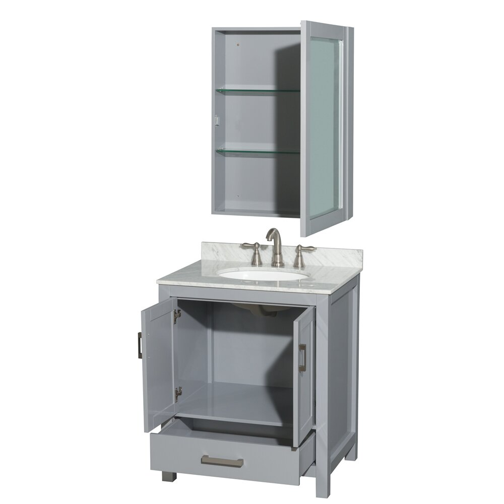 Wyndham Collection Sheffield 30 Single Bathroom Vanity Set With Medicine Cabinet With Mirror