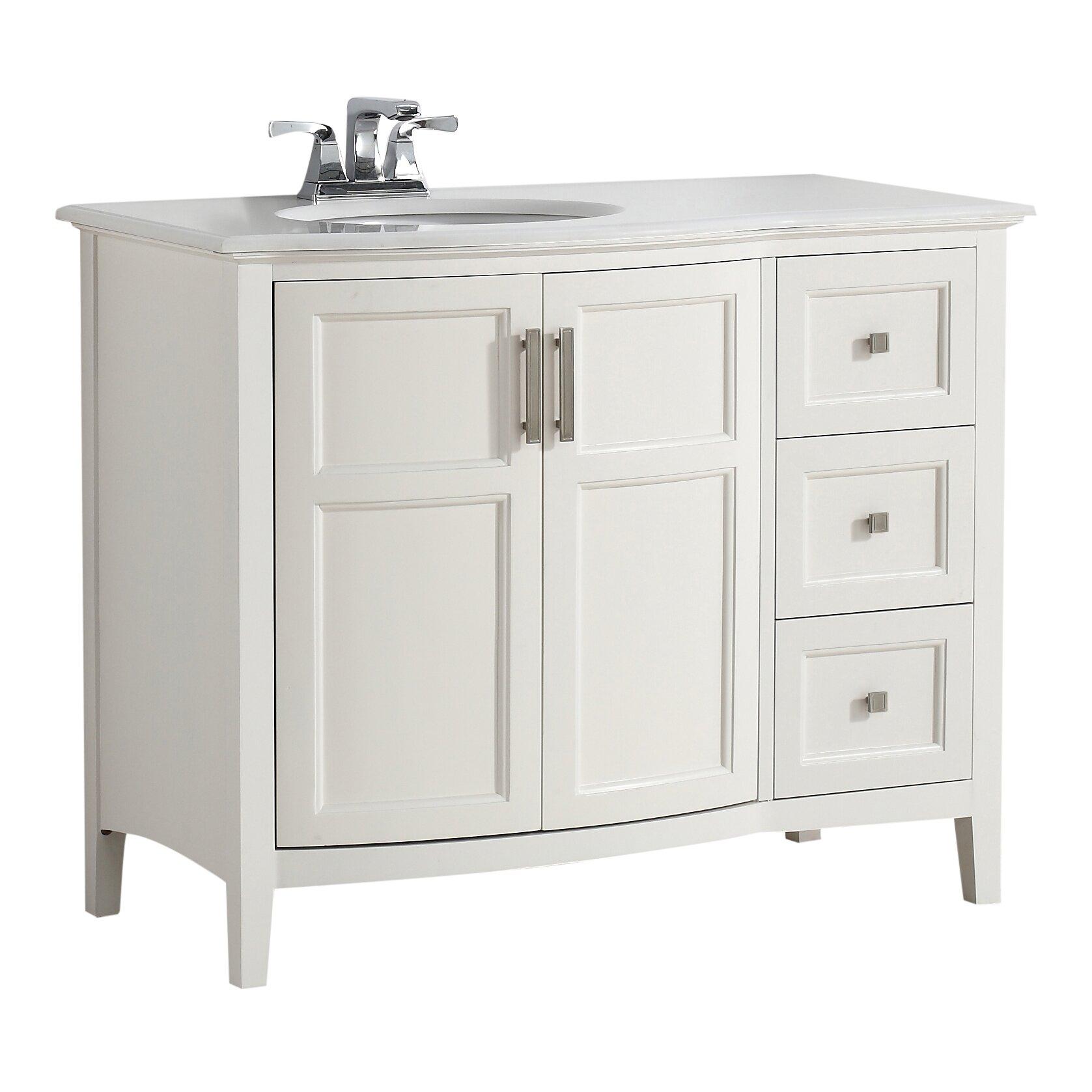 "Simpli Home Winston 43"" Single Rounded Front Bath Vanity Set & Revie"