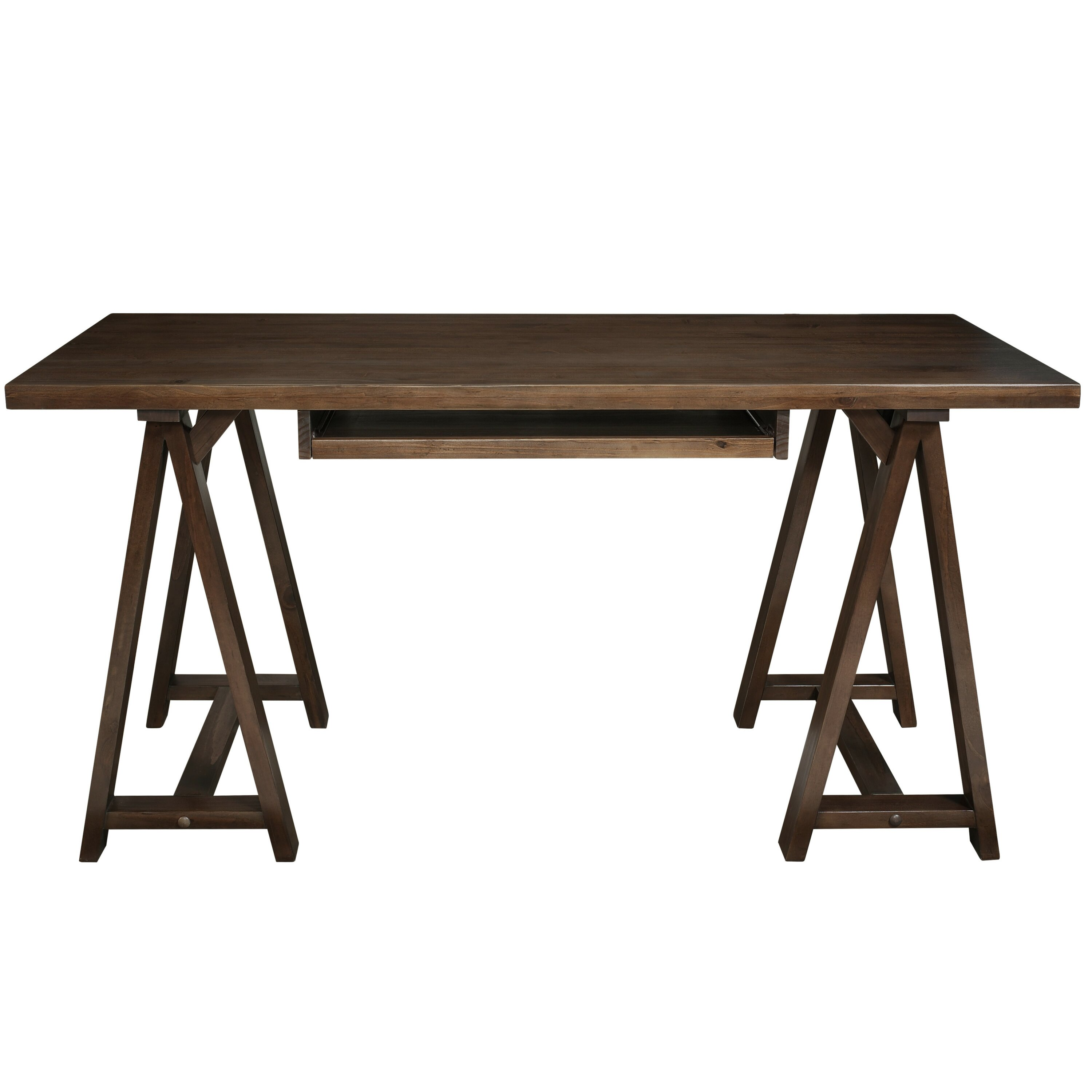 Sawhorse Computer Desk With Integrated Keyboard Tray
