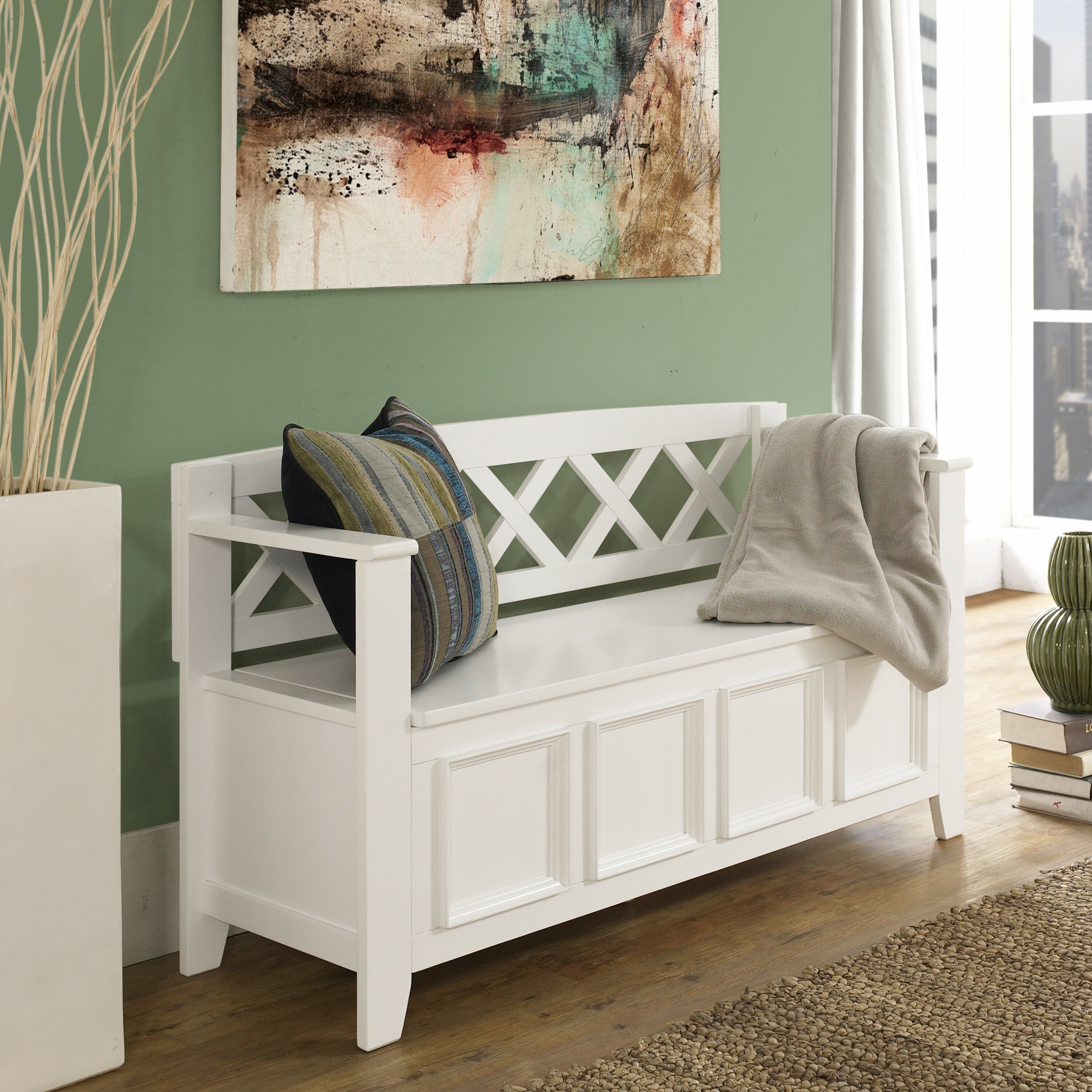 Simpli Home Amherst Wood Storage Entryway Bench & Reviews