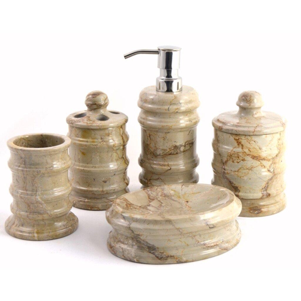 Bengal 5 piece sahara beige marble bathroom accessory set for Beige bathroom accessories set