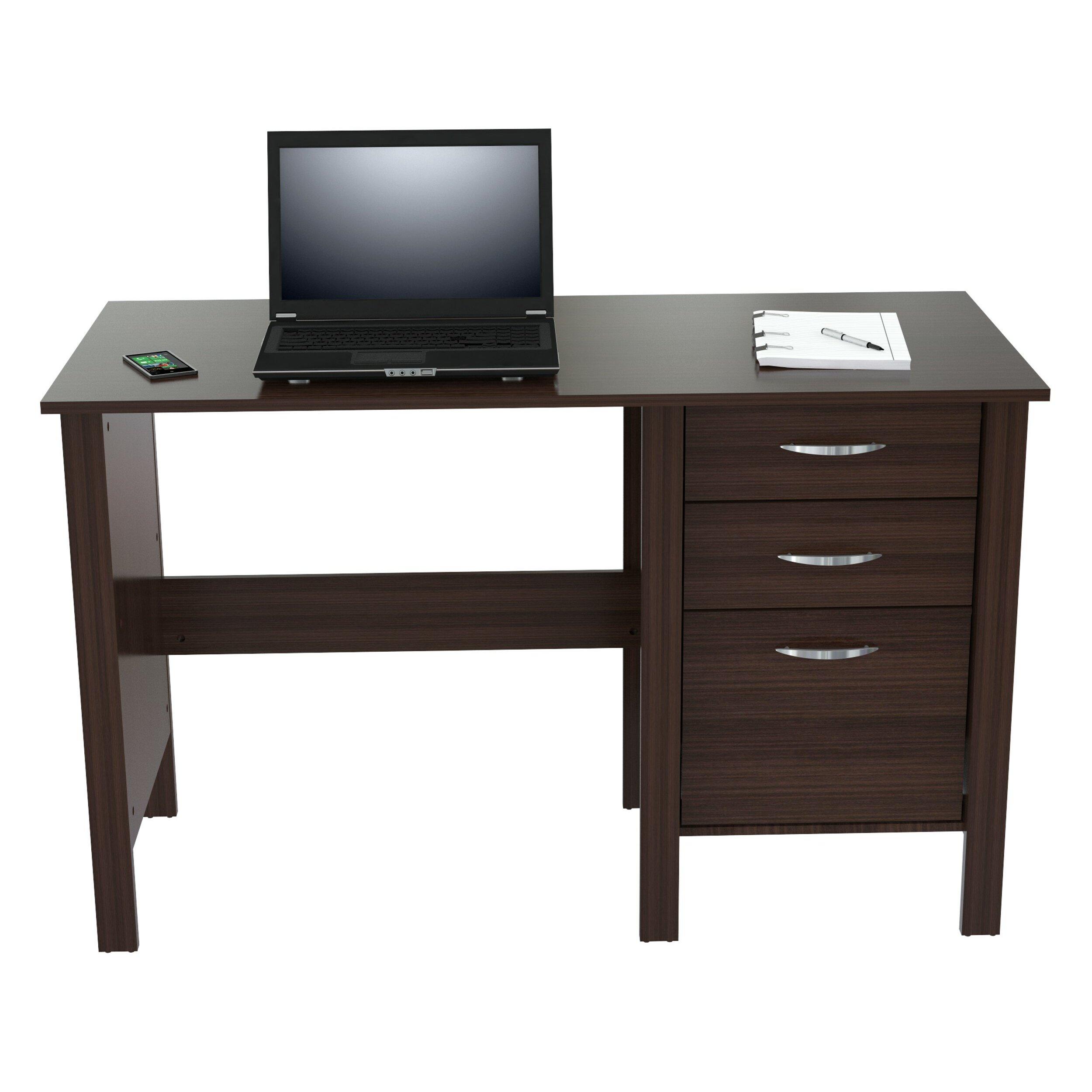 computer desk with 3 drawers wayfair. Black Bedroom Furniture Sets. Home Design Ideas