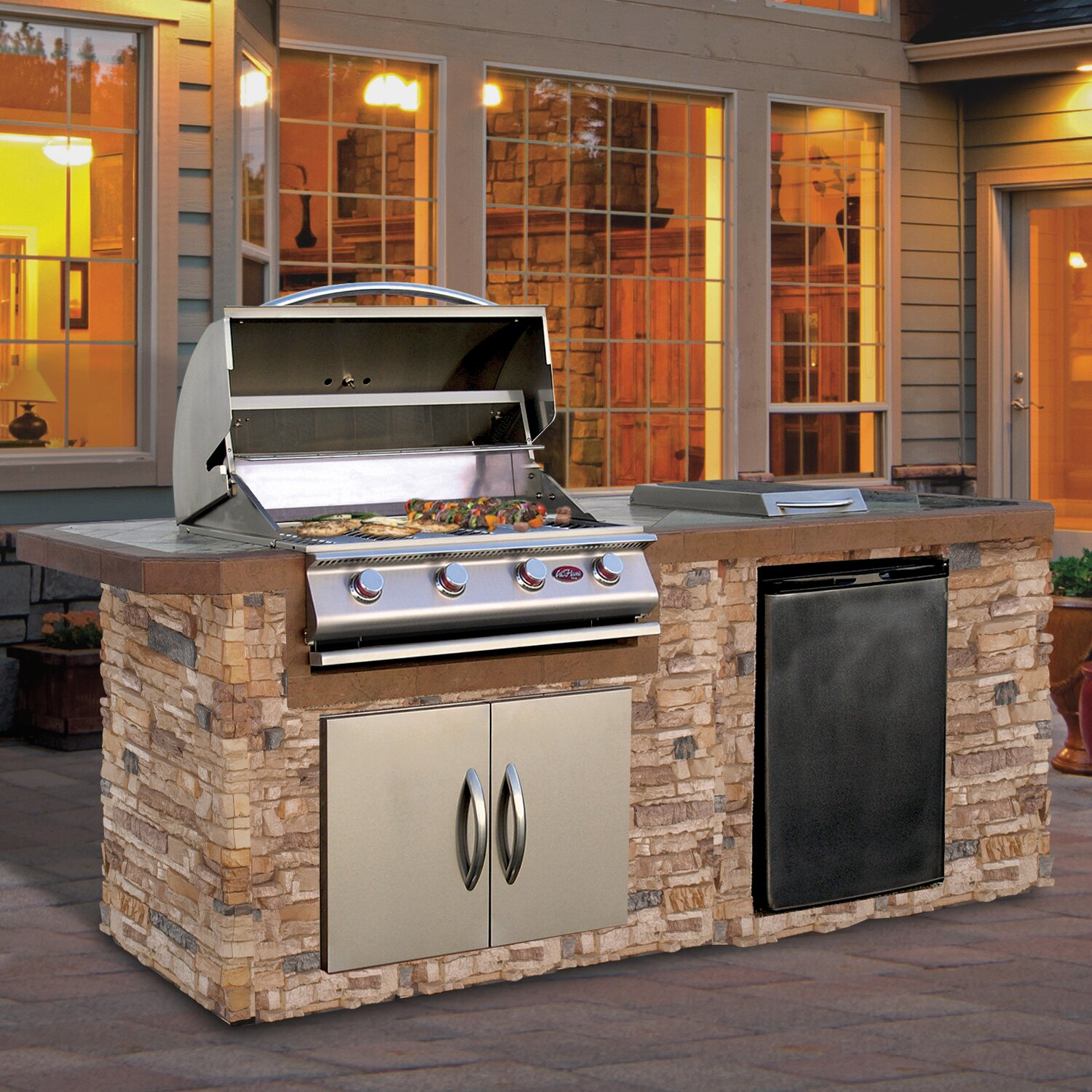 "6 Ft Kitchen Island: 72"" 4-Burner Built-In Liquid Propane Gas Grill"