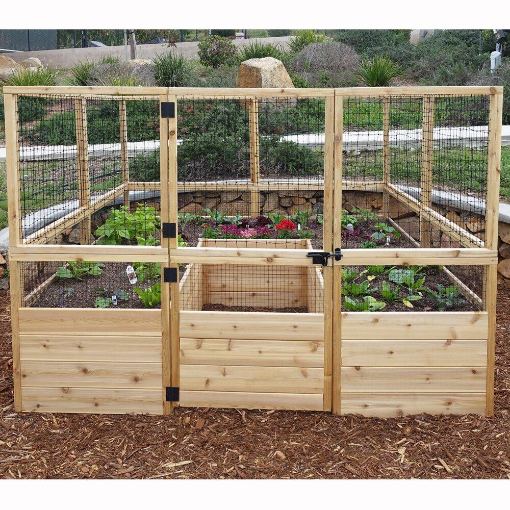 Square Raised Garden with Deer Fence Kit | Wayfair