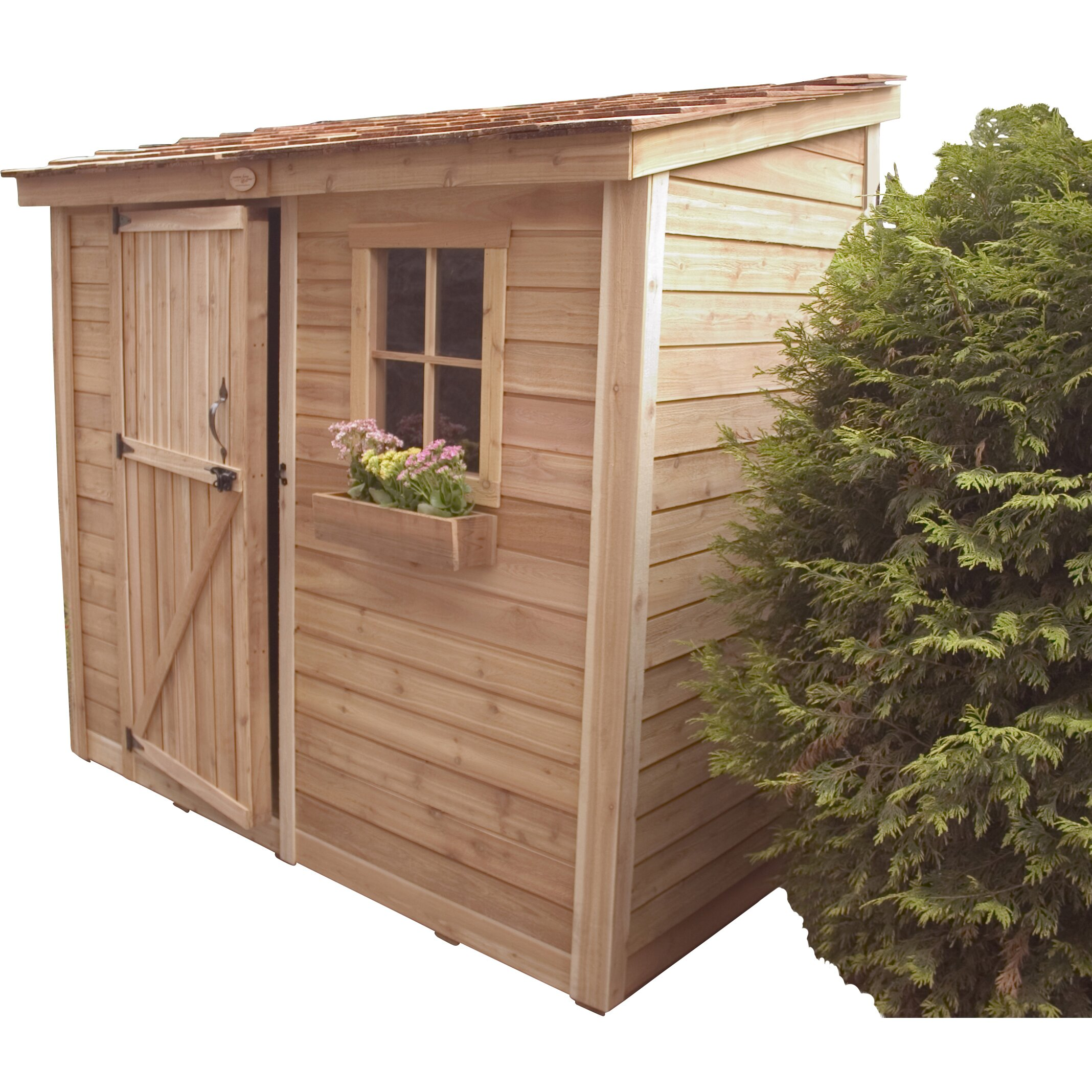 Spacesaver 8 ft w x 4 ft d wood lean to shed wayfair for Garden shed 5 x 4