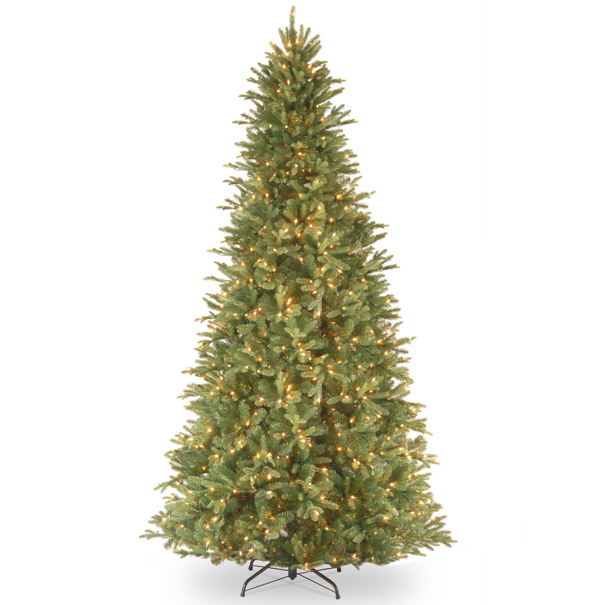 7ft Black Pre Lit Christmas Tree: Tiffany Fir 9' Green Slim Artificial Christmas Tree With