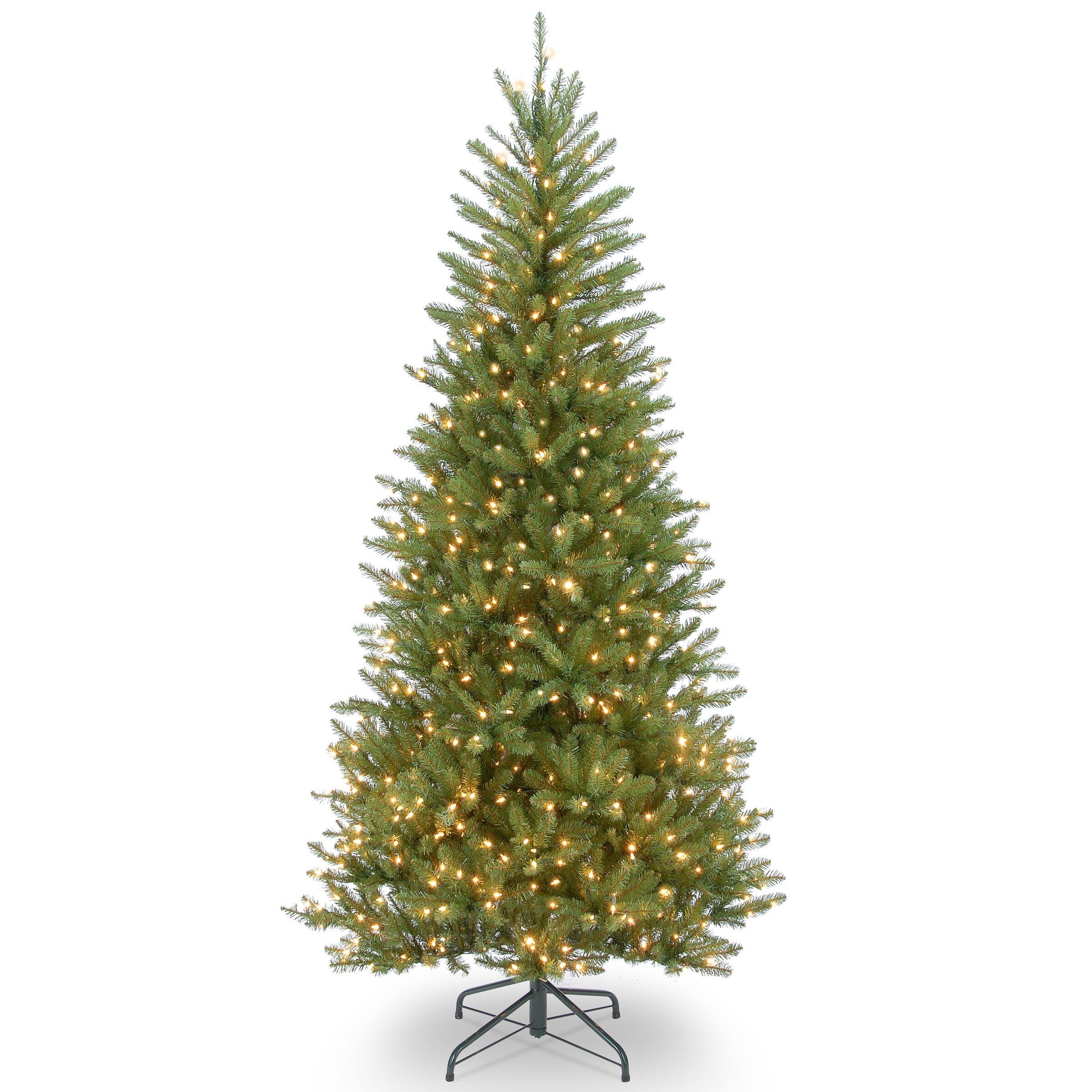 Next Slim Christmas Tree: Dunhill Slim Fir 7.5' Hinged Green Artificial Christmas