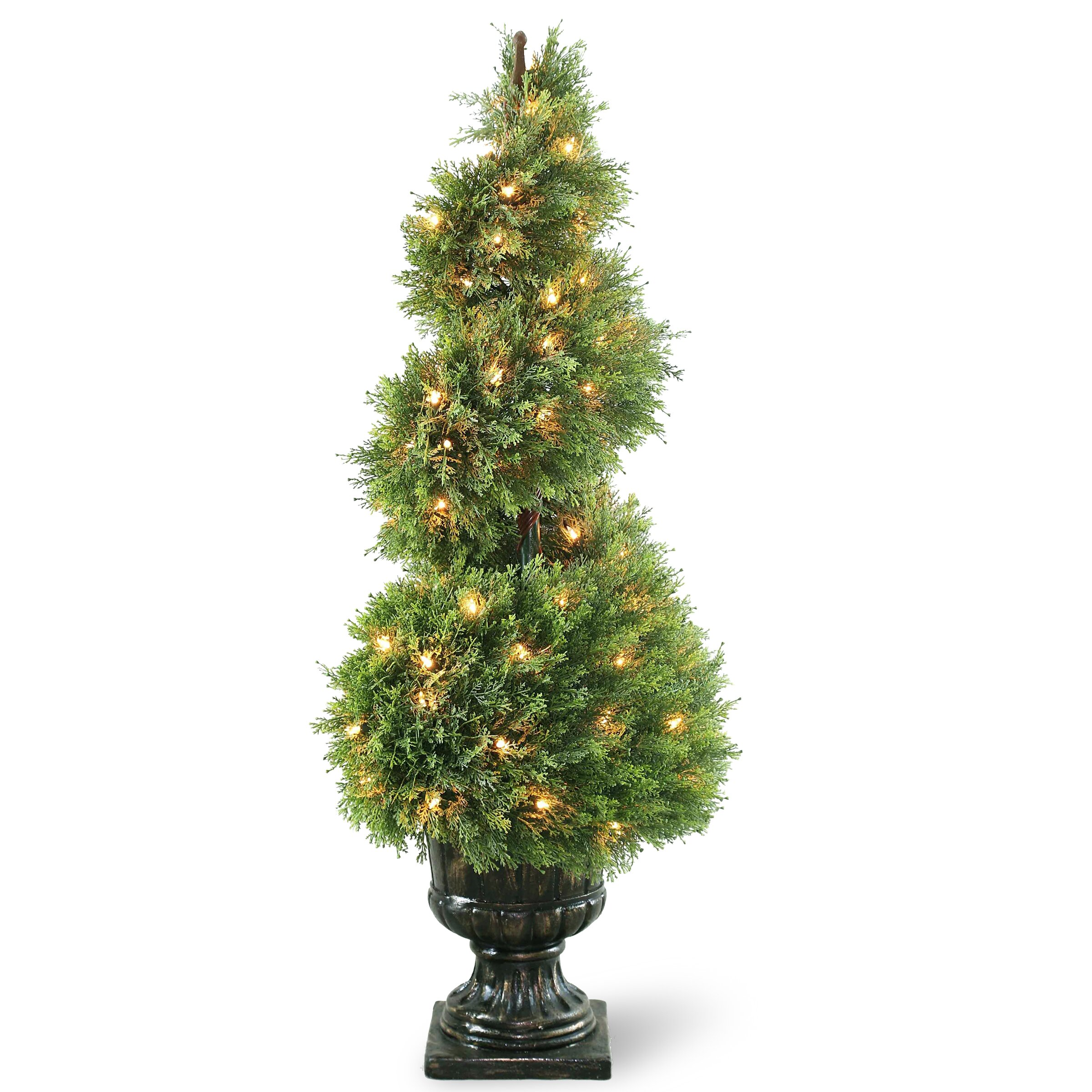 Topiary Spiral Trees: National Tree Co. Pre-Lit Juniper Spiral Topiary In Urn