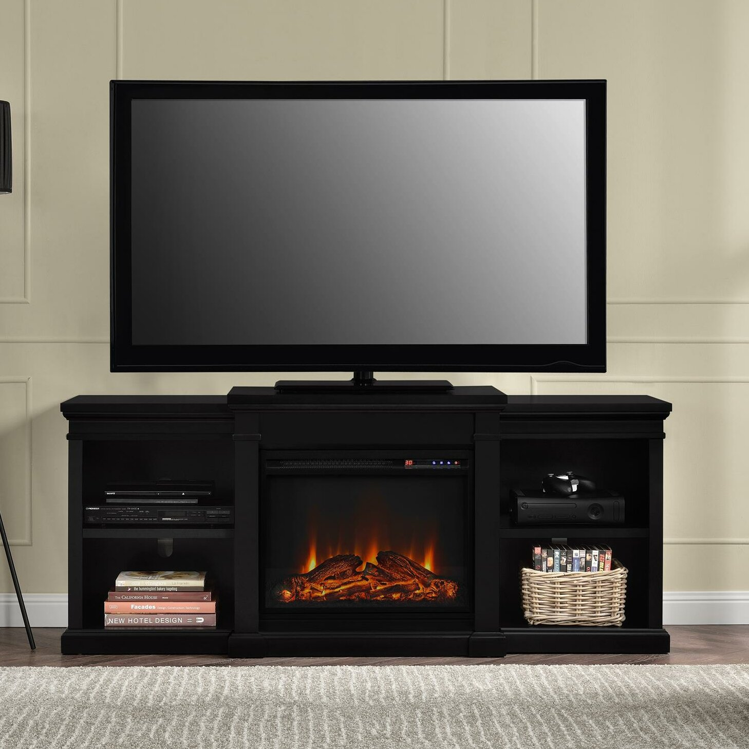 darby home co bryn tv stand with electric fireplace