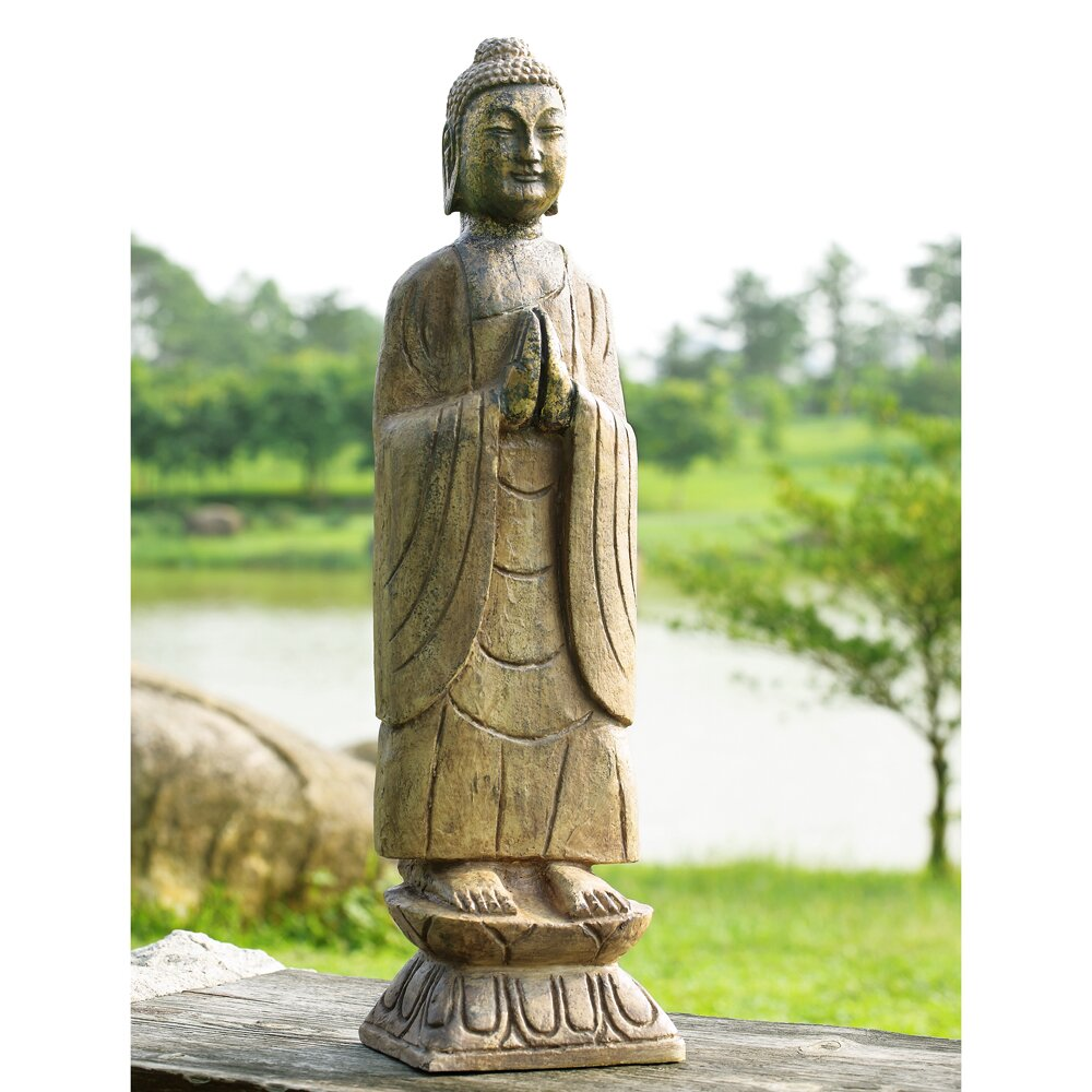 meditating buddha garden statue wayfair. Black Bedroom Furniture Sets. Home Design Ideas