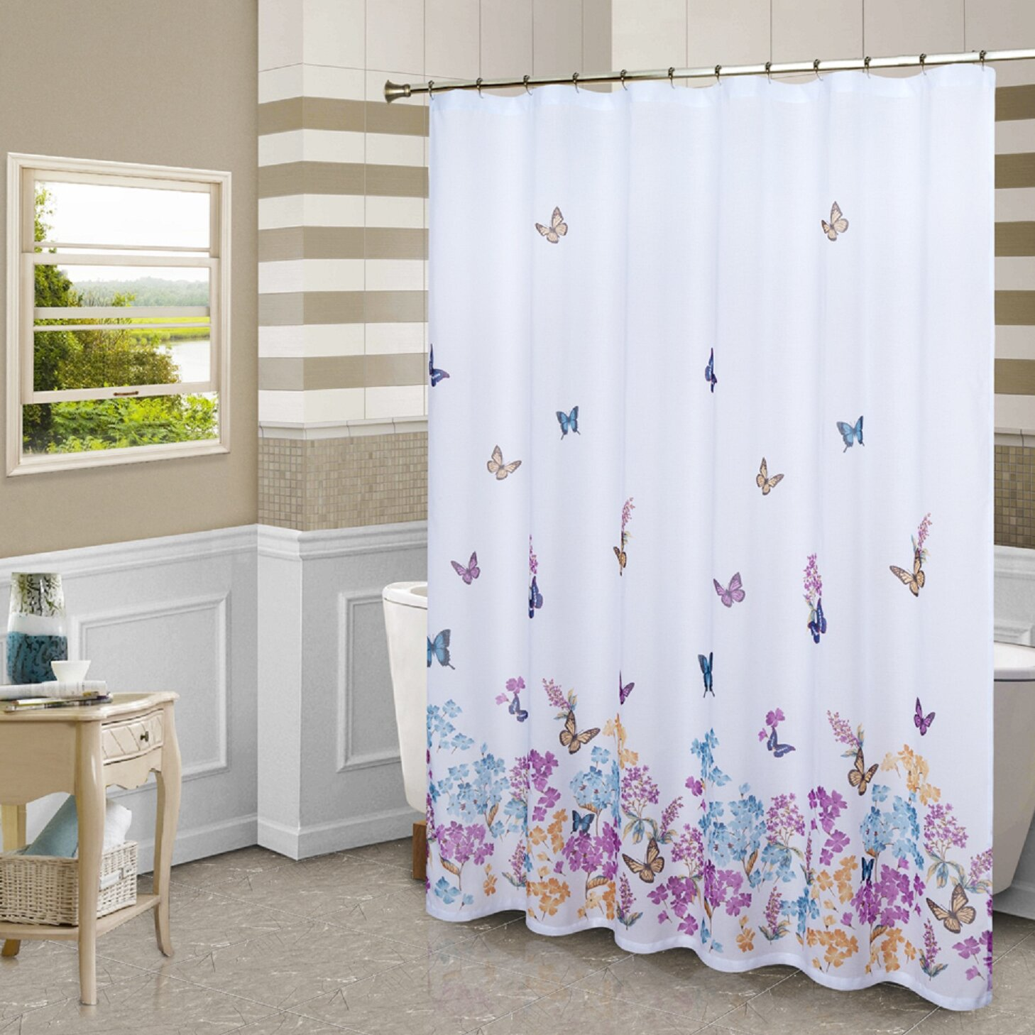 butterfly shower curtain by united curtain co