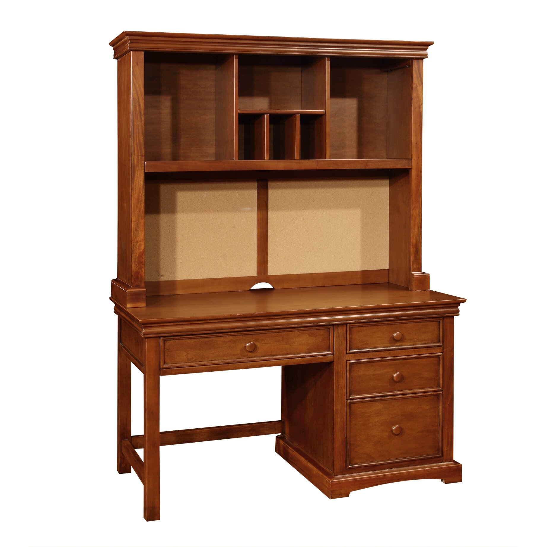 Cambridge Wood Pedestal Desk with Hutch and 4 Drawers | Wayfair