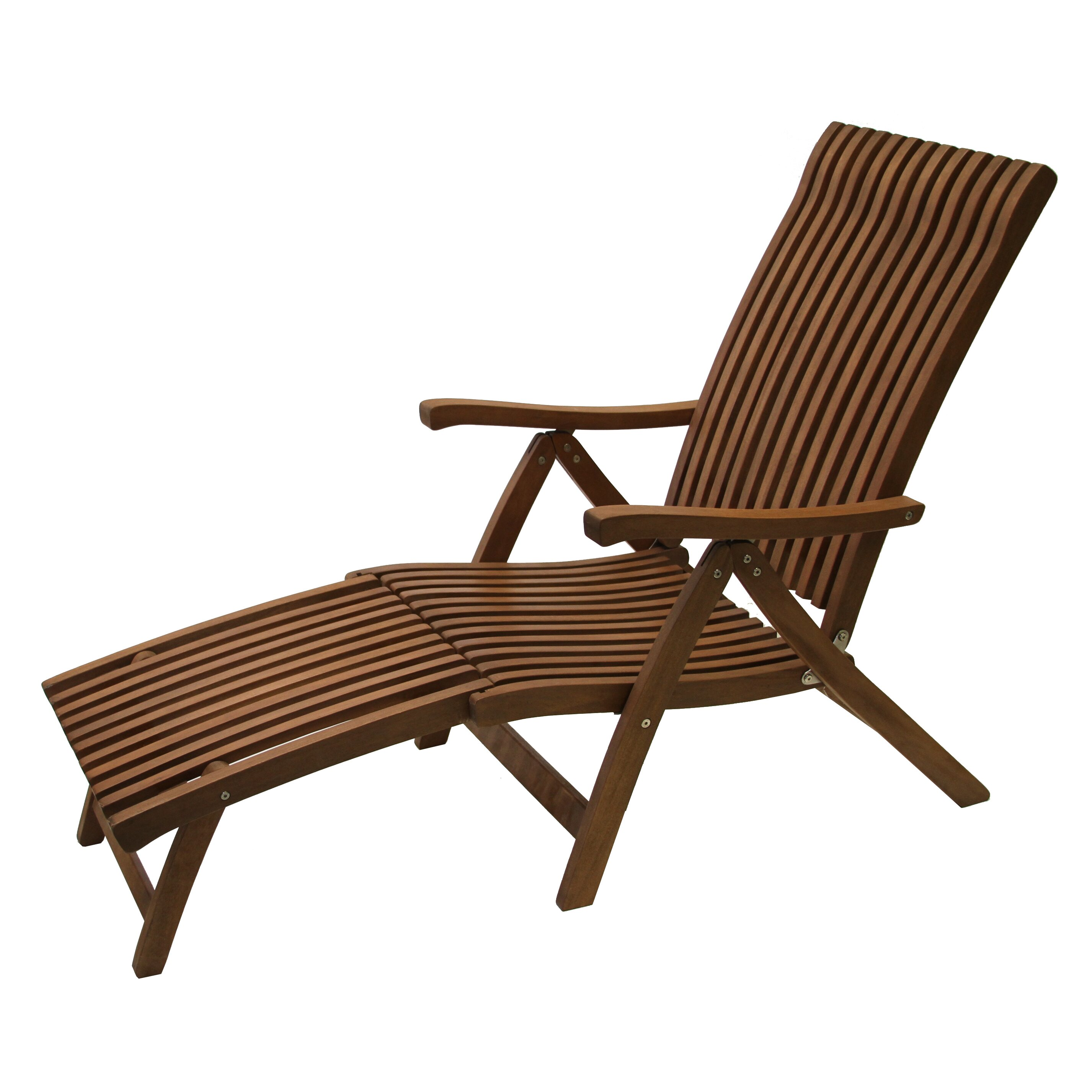 Outdoor interiors eucalyptus venetian 5 position lounger for Adams 5 position chaise lounge white