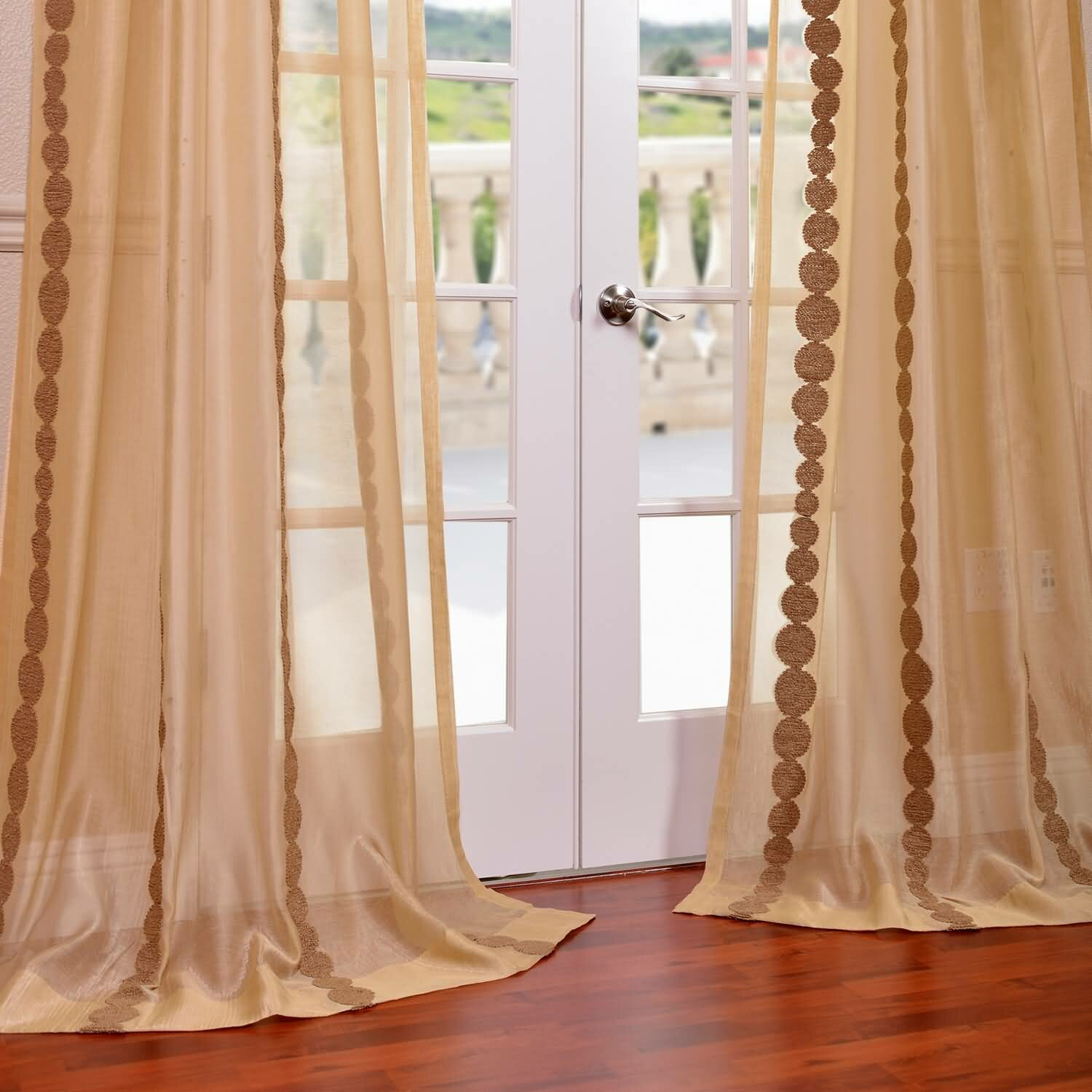cleopatra embroidered sheer single curtain panel reviews wayfair