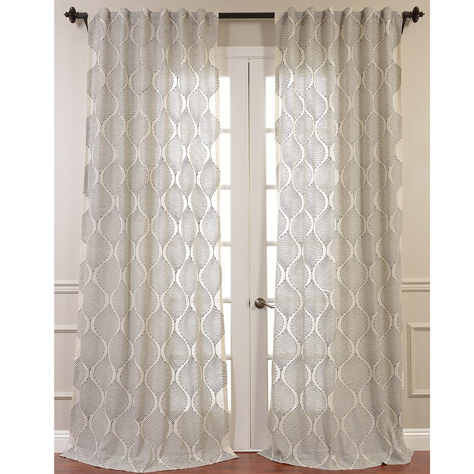 half price drapes dreamweaver embroidered sheer single curtain panel reviews wayfair. Black Bedroom Furniture Sets. Home Design Ideas