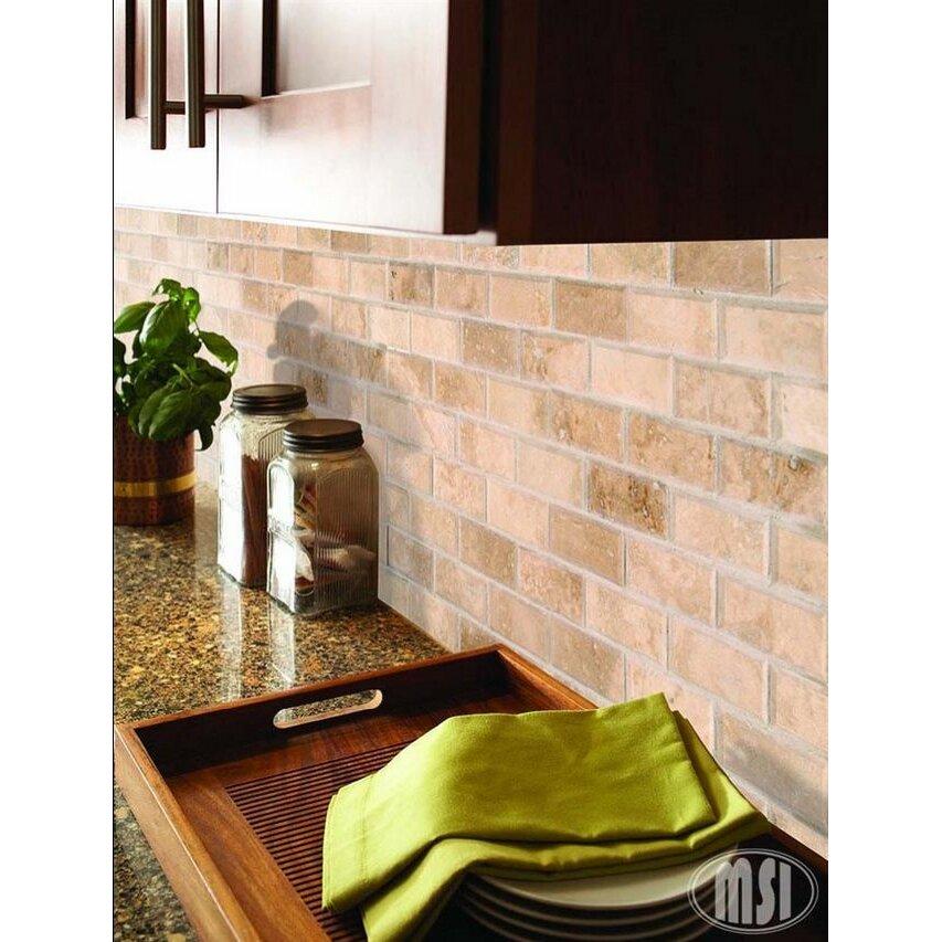 "Travertine Kitchen Backsplash: MSI Tuscany Ivory Mounted 2"" X 4"" Travertine Subway Tile"