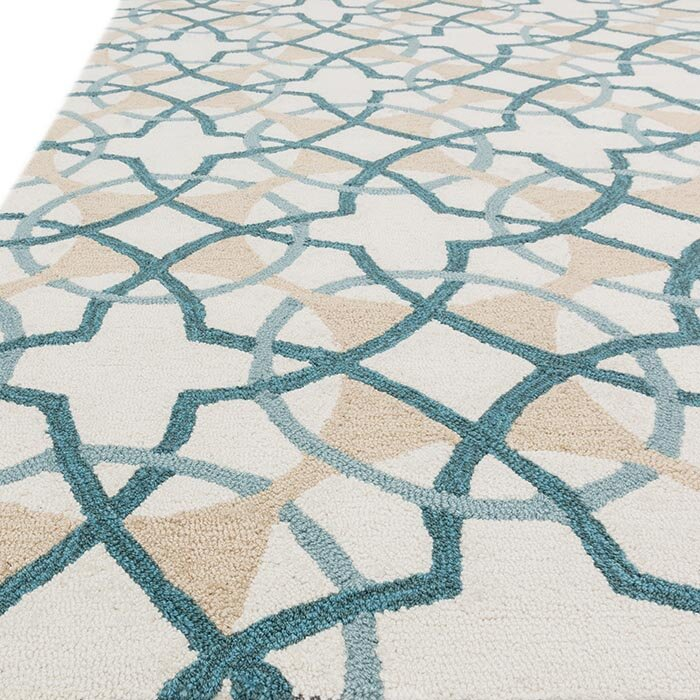 Francesca Ivory/Teal Geometric Area Rug