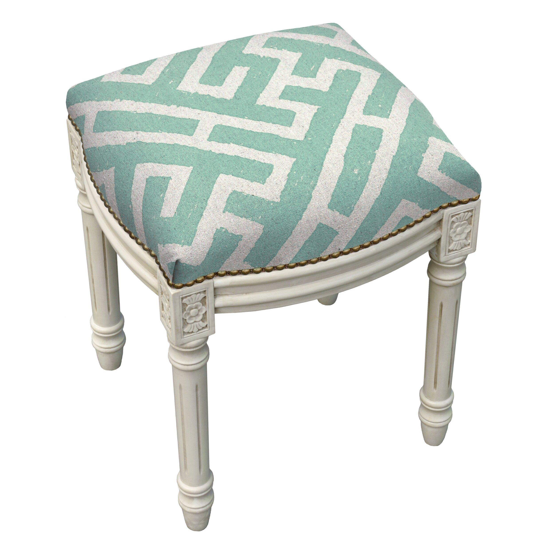 Graphic Lattice Linen Upholstered Vanity Stool Wayfair
