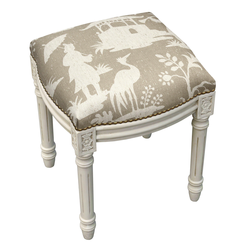 Floral Chinoiserie Linen Upholstered Vanity Stool Wayfair