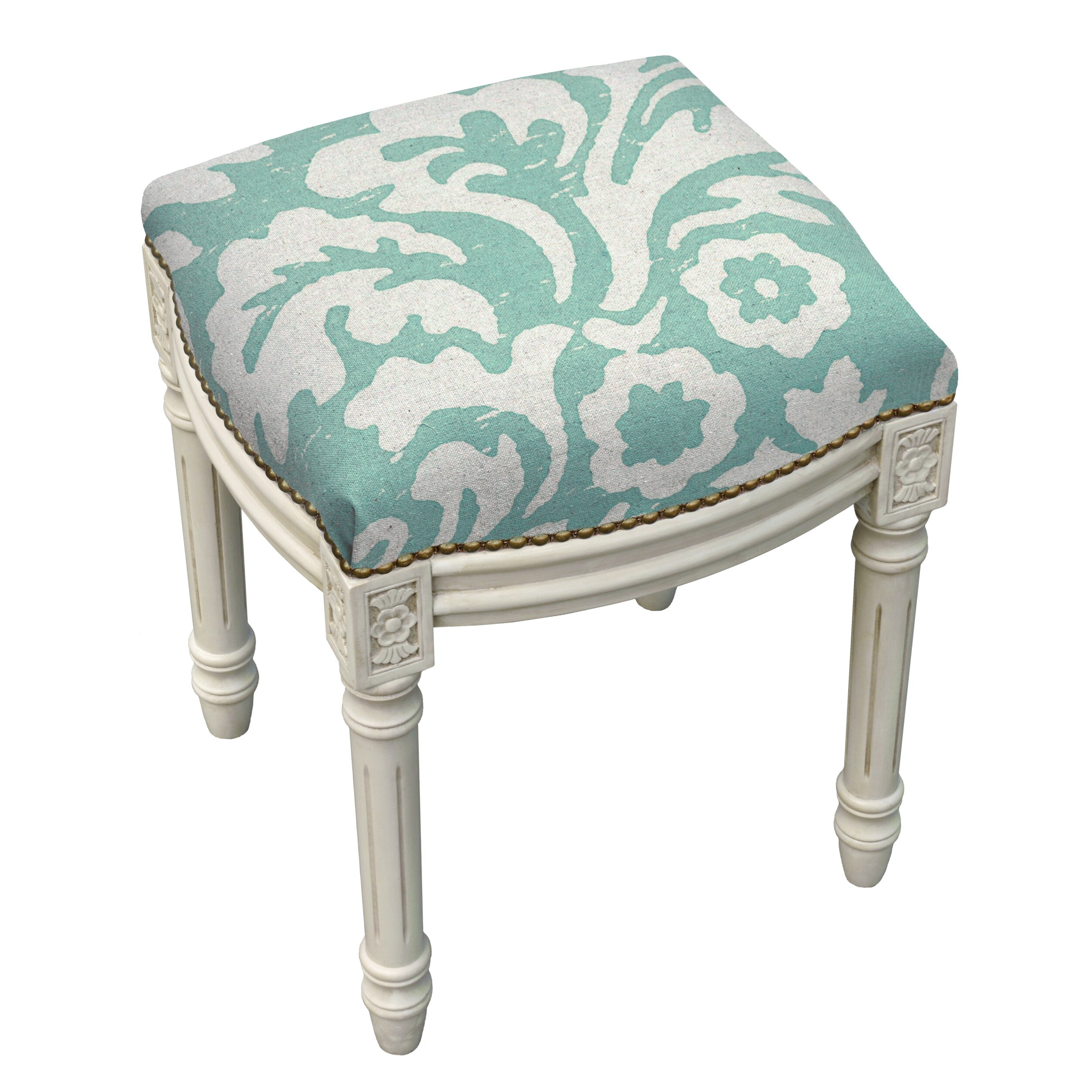 Floral Jacobean Linen Upholstered Vanity Stool Wayfair