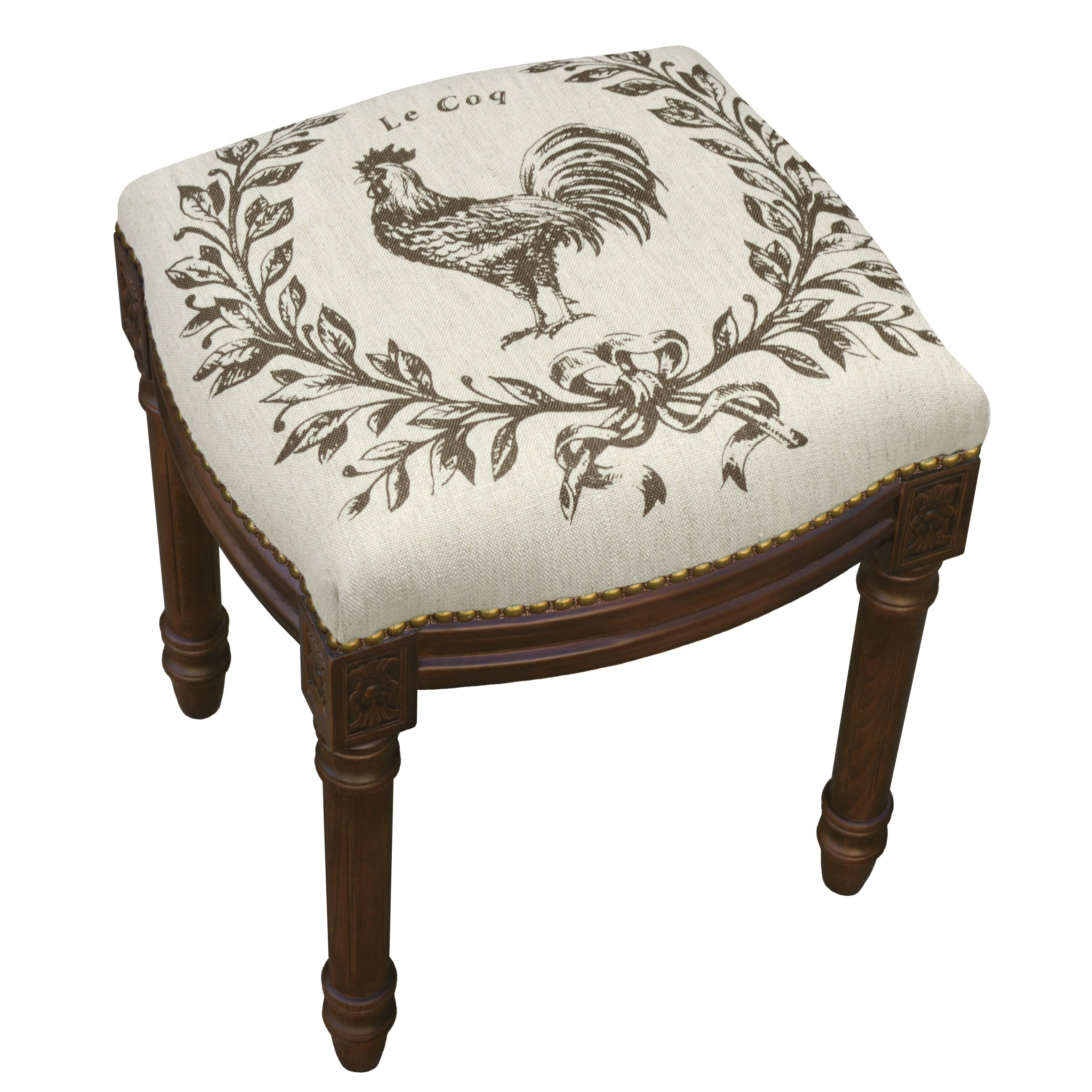 123 Creations Rooster Linen Upholstered Vanity Stool With