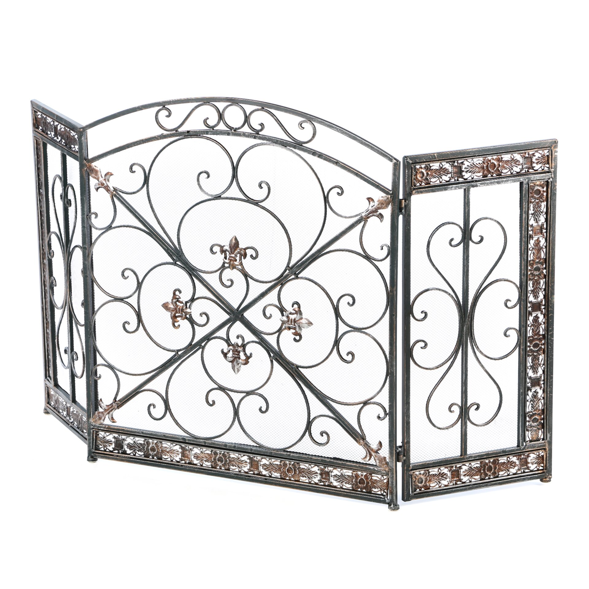 fleur de lis 3 panel iron fireplace screen wayfair