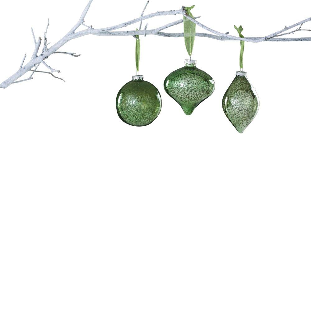Sage Holidays: Winter Sage Holiday 3 Piece Glass Onion Ball Ornament Set