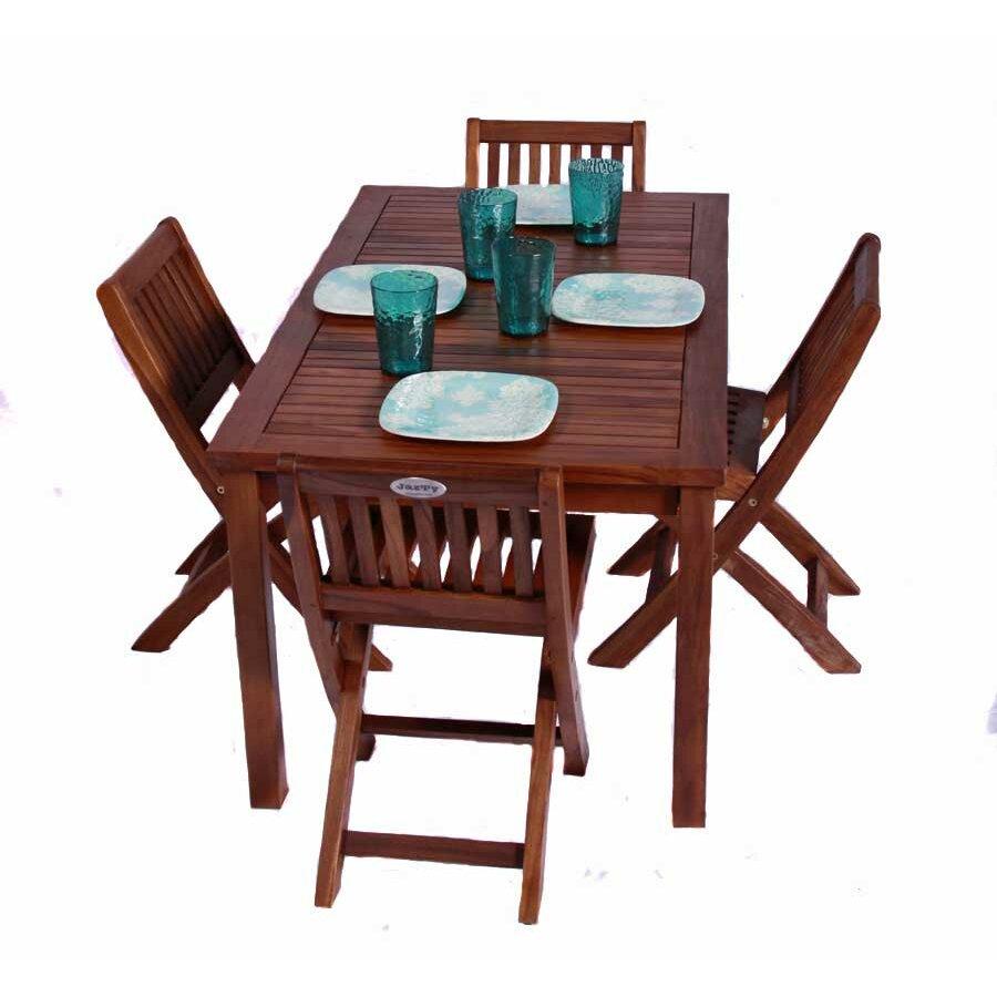 Jazty kids teak rectangle table and folding chair