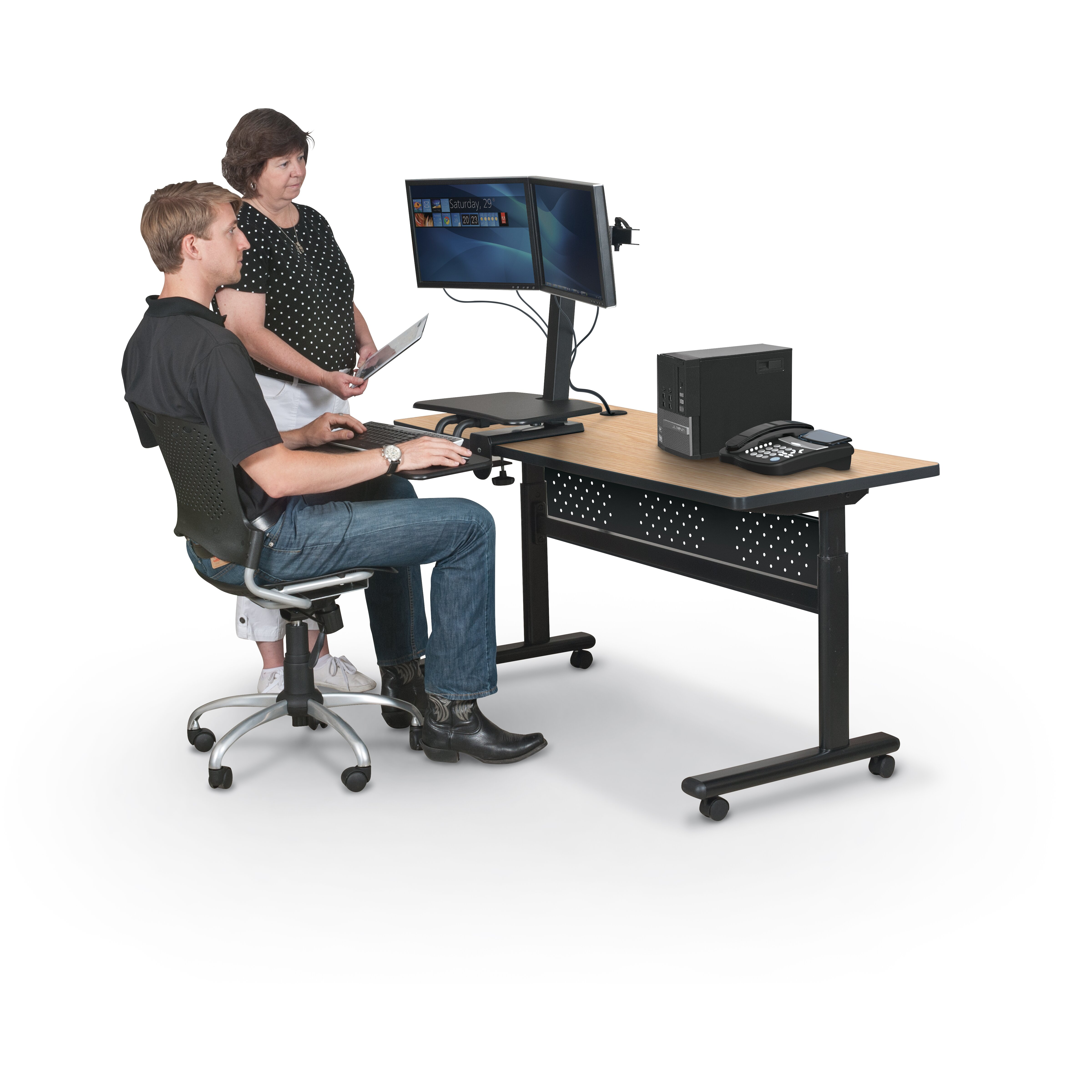 Up Rite Desk With Mounted Sit Stand Height Adjustable 2