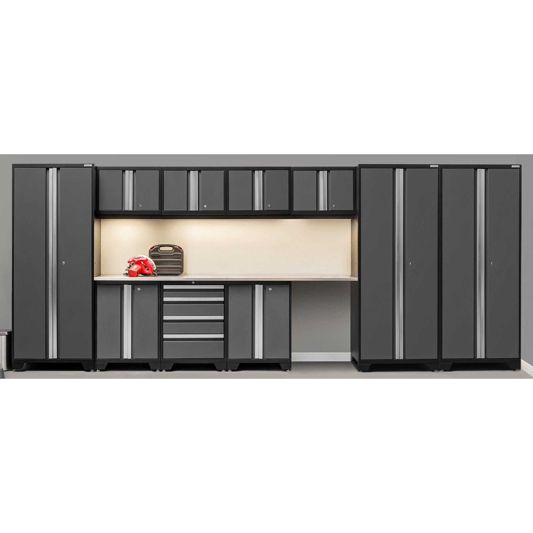 Bold 3 0 series 12 piece garage storage cabinet set with for 3 piece metal kitchen units