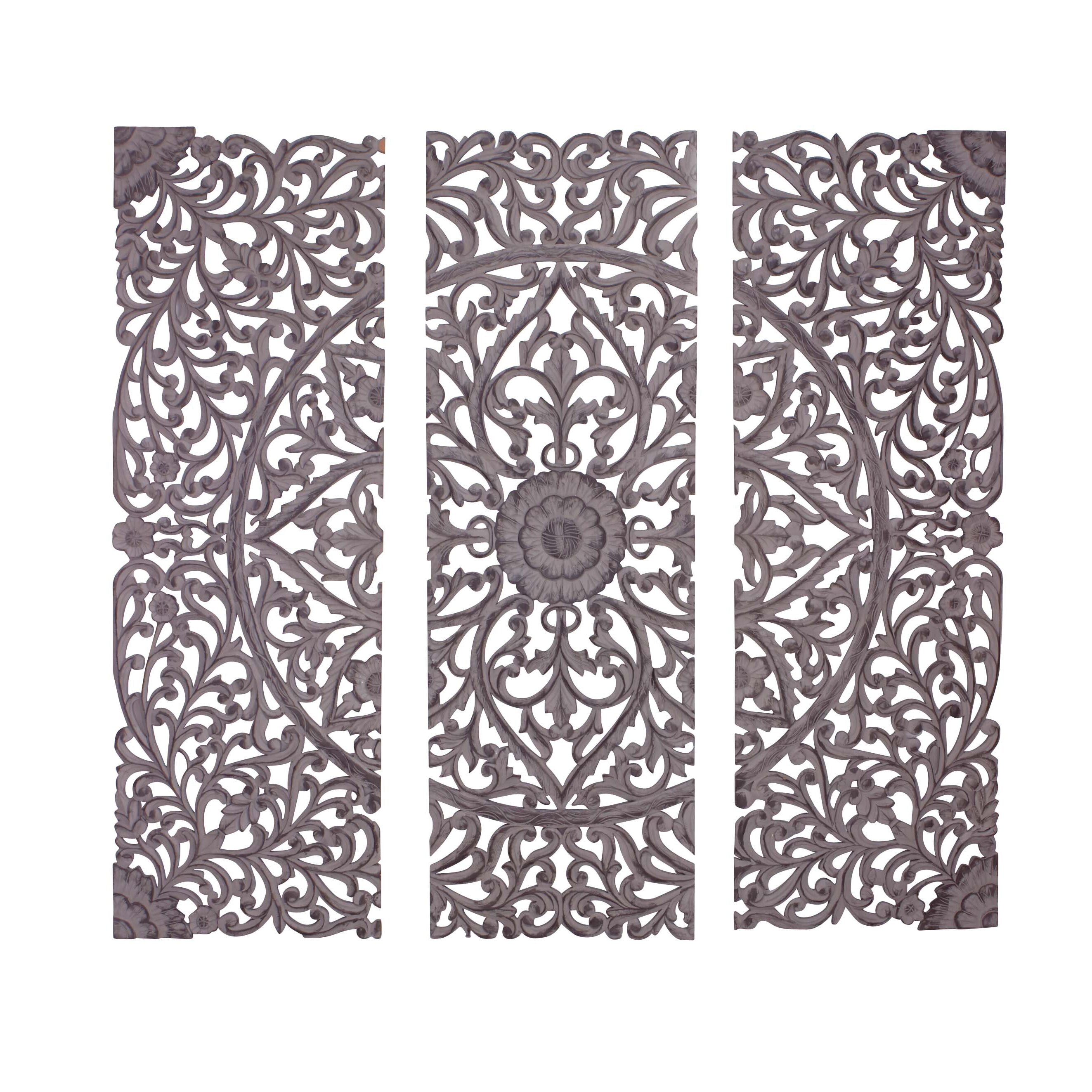 3 Piece The Must Have Wood Carved Panel Wall D 233 Cor Set