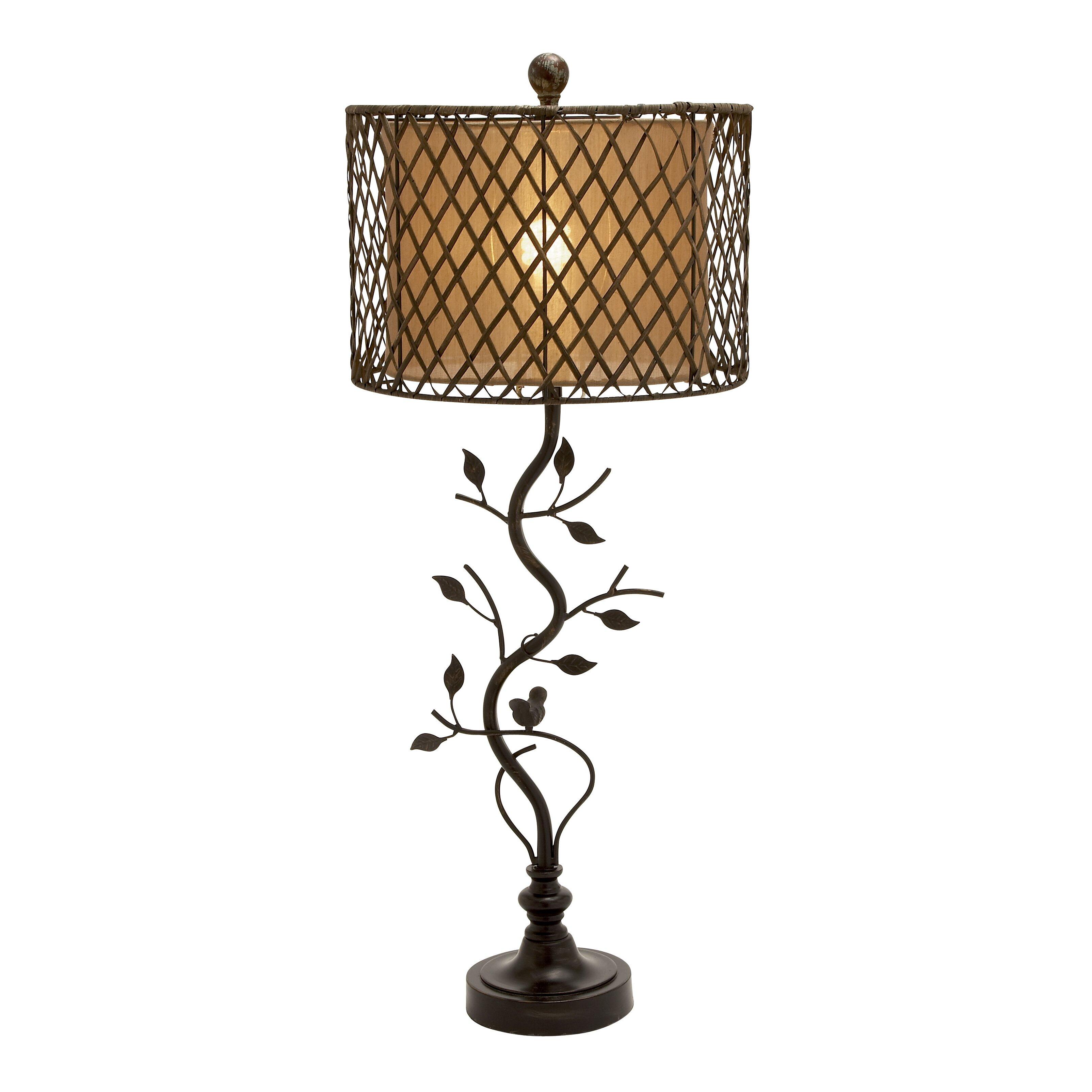 "Metal Shade Buffet Lamp: Beautiful Metal Polystone Rattan 35"" H Table Lamp With"