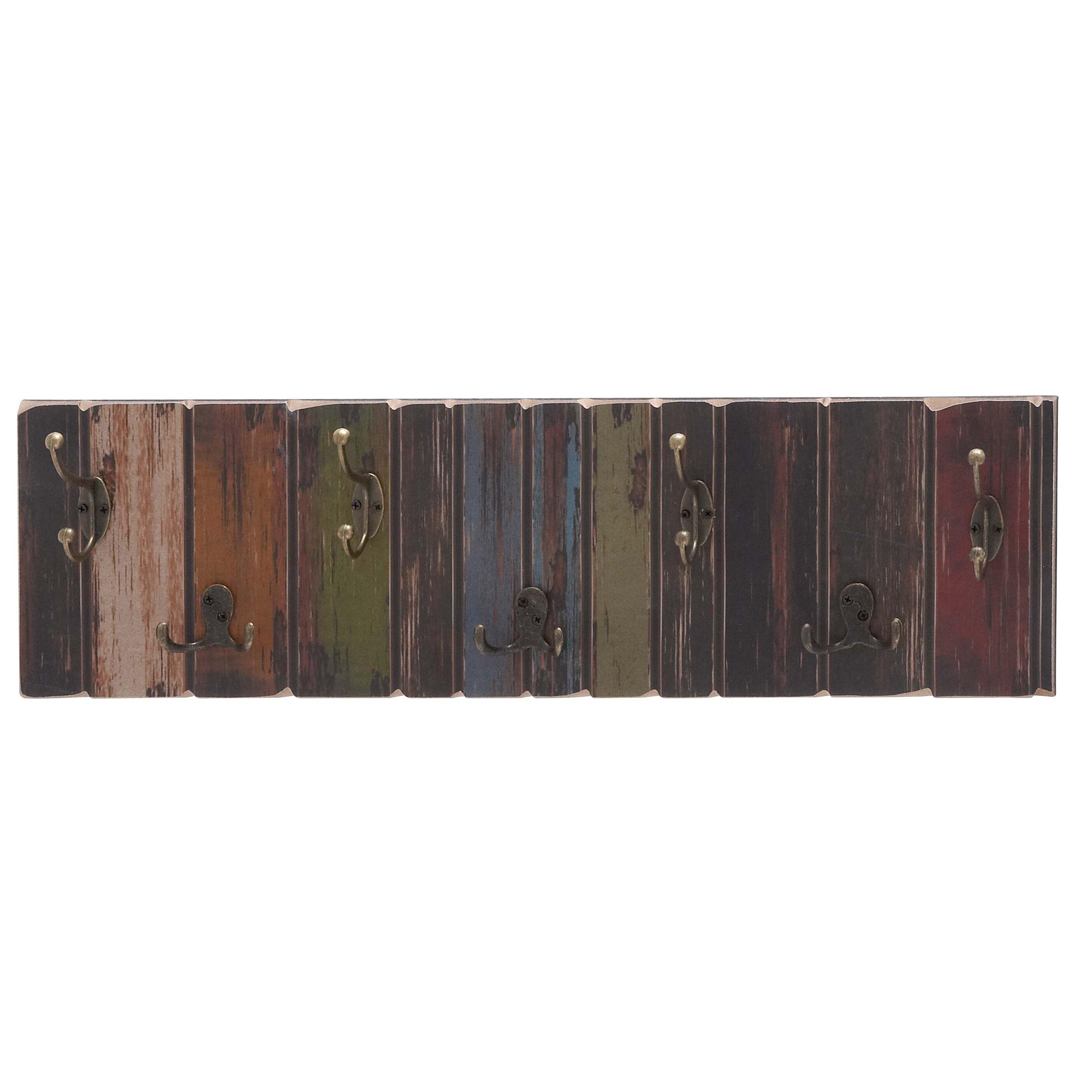 August Grove Freida Wooden Crafted Metal 7 Hook Coat Rack