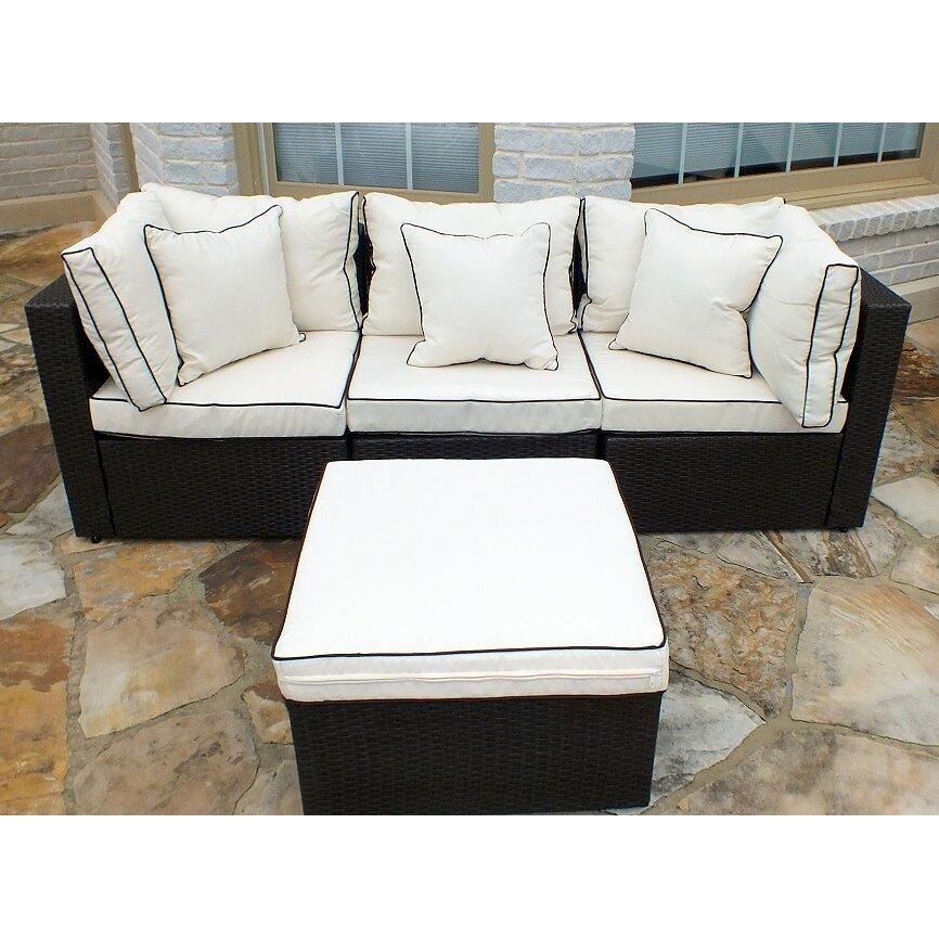 JJ International Hampton Wicker 4 Piece Sofa Set with