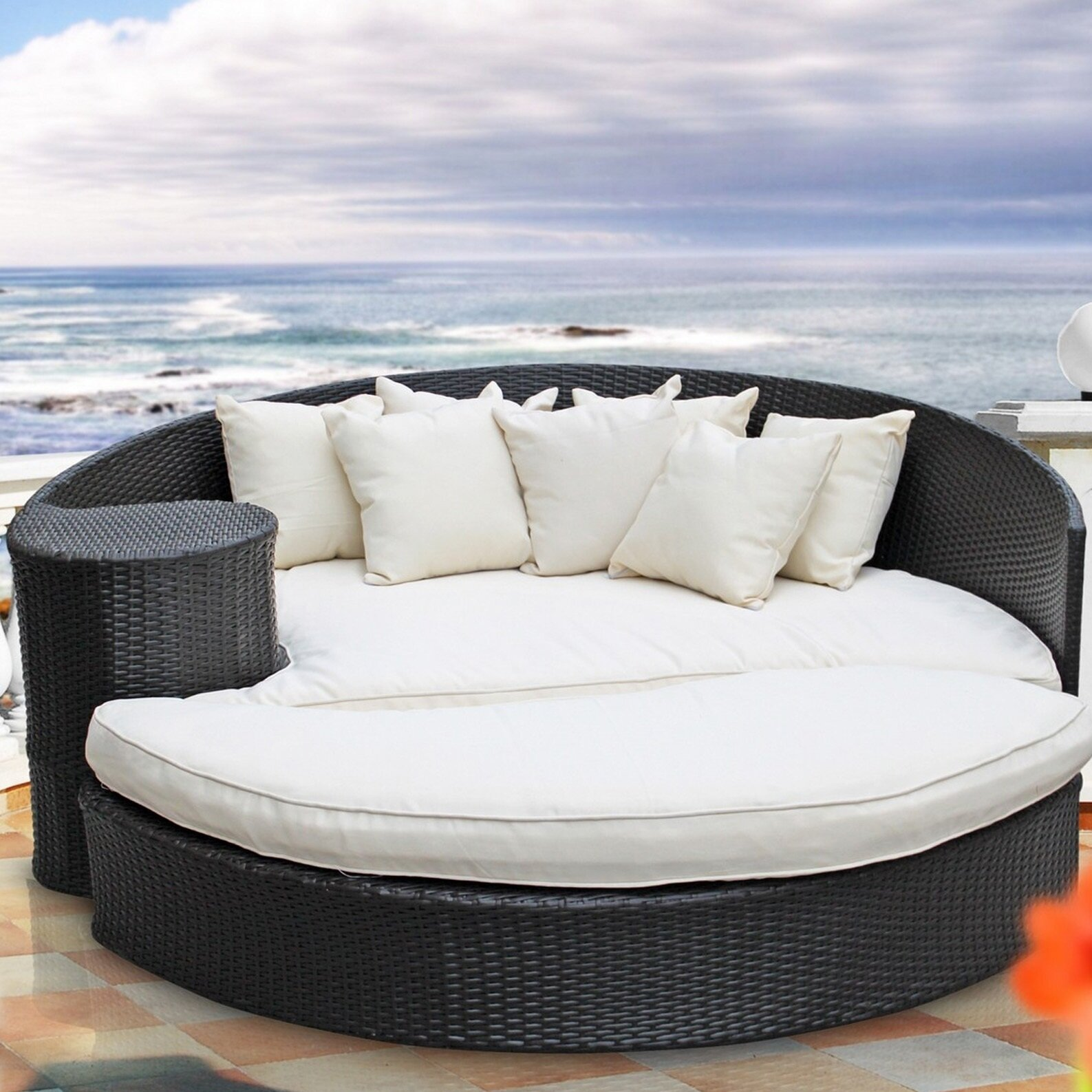 Modway Taiji Outdoor Daybed With Ottoman Amp Cushion