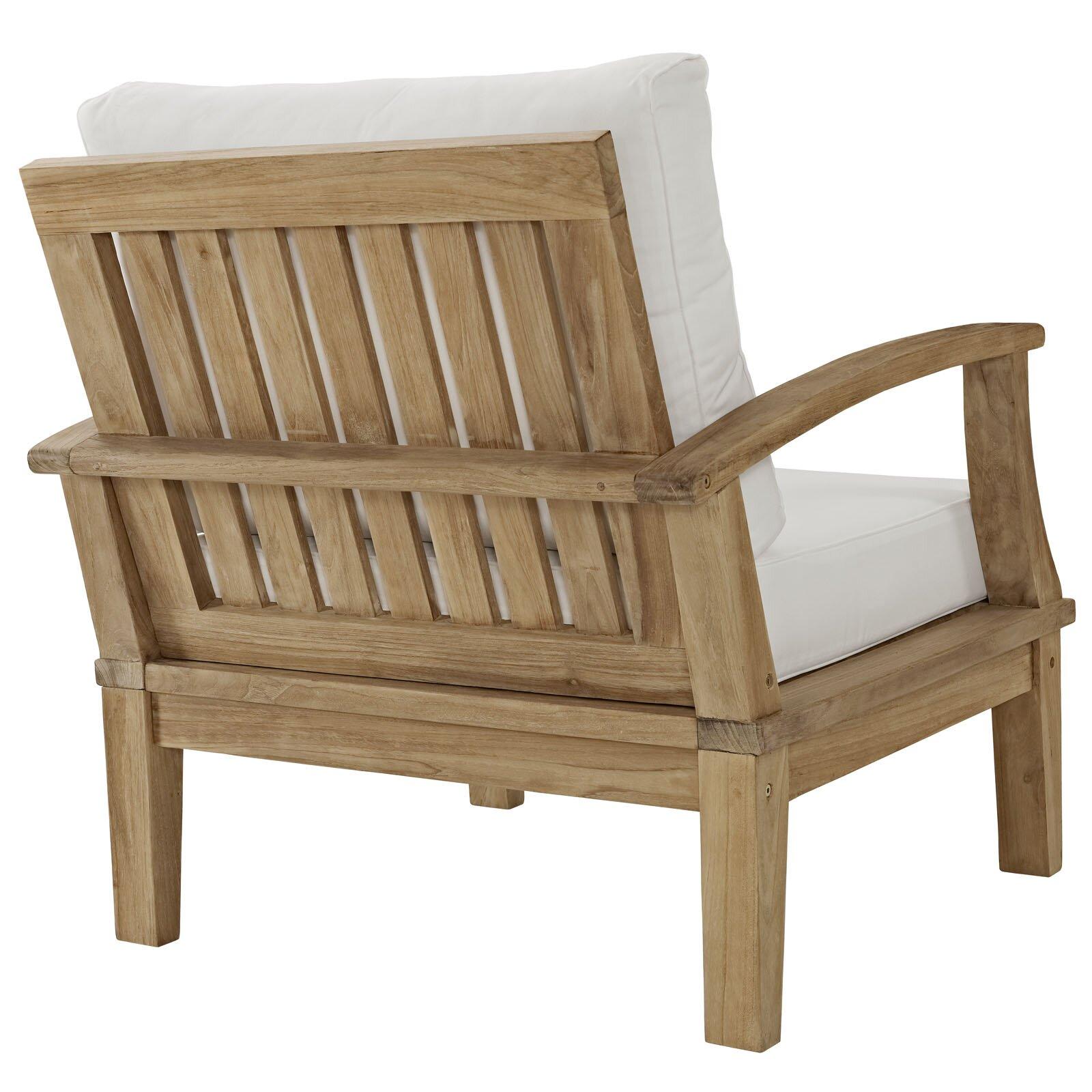 Marina Teak Outdoor Patio Arm Chair with Cushion | Wayfair