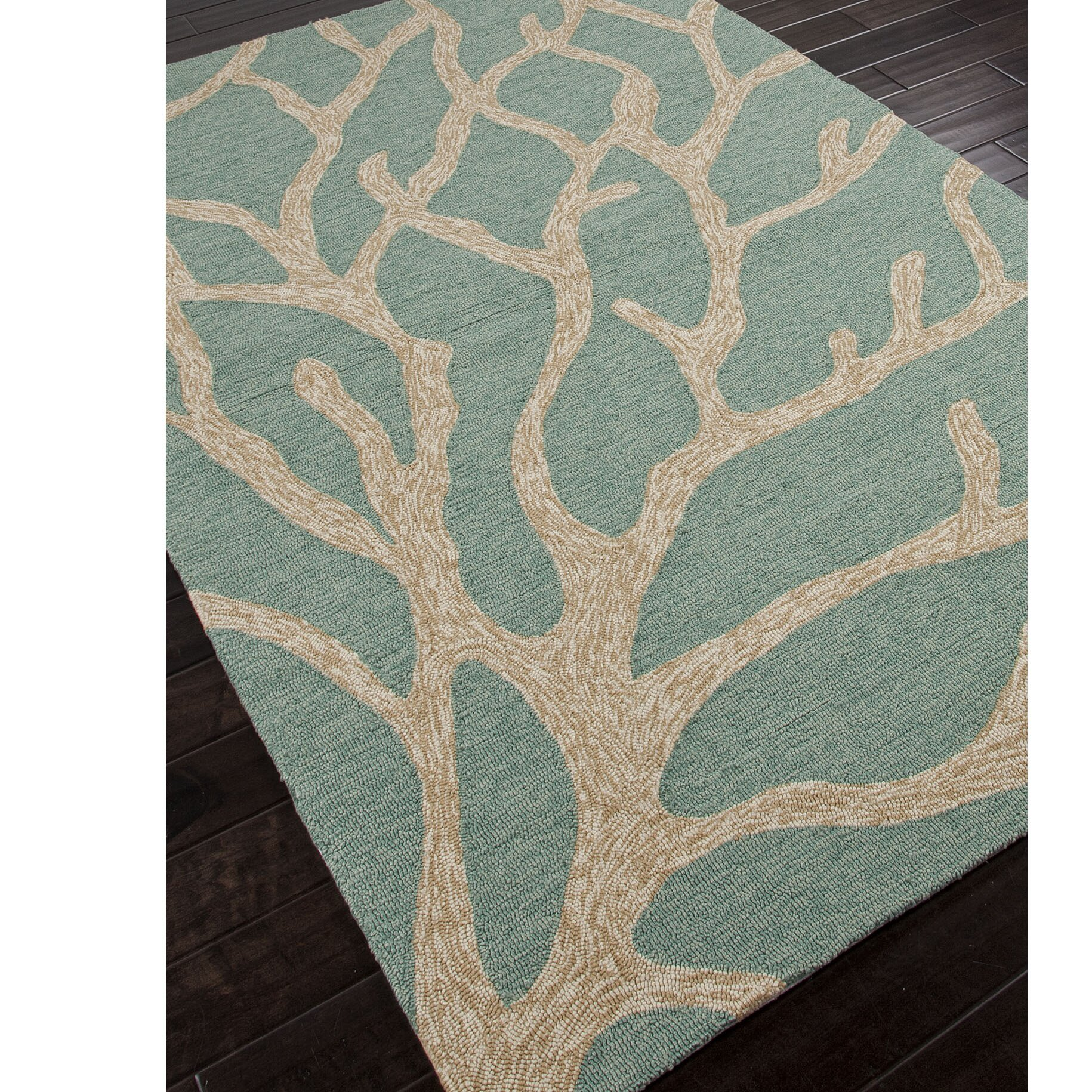Coastal Lagoon Green Beige Indoor Outdoor Area Rug