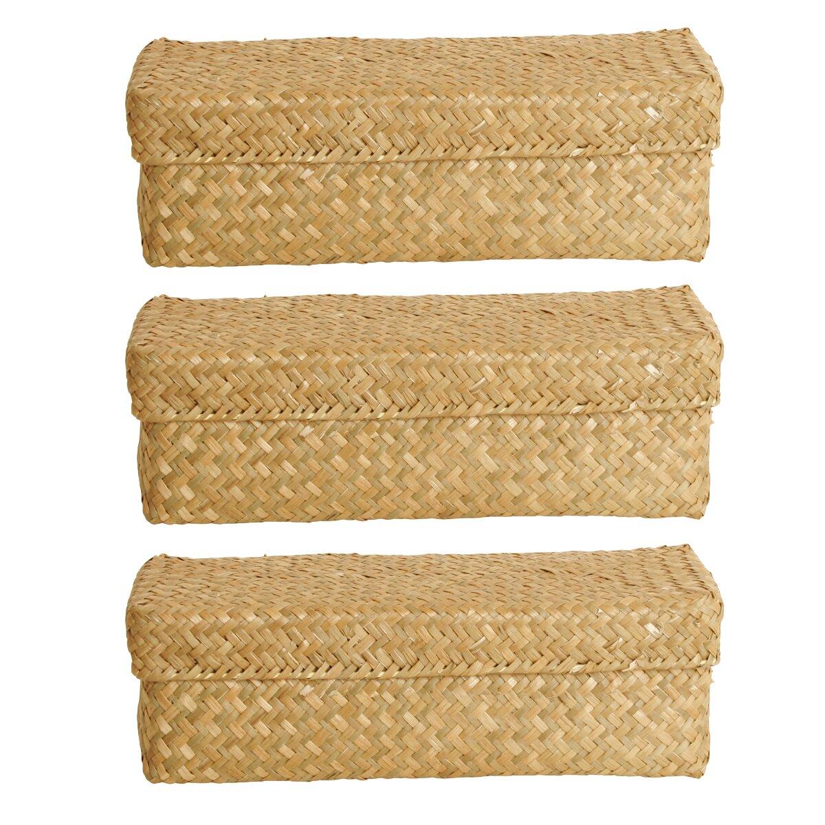 3 Piece Natural Seagrass Reed Basket Set